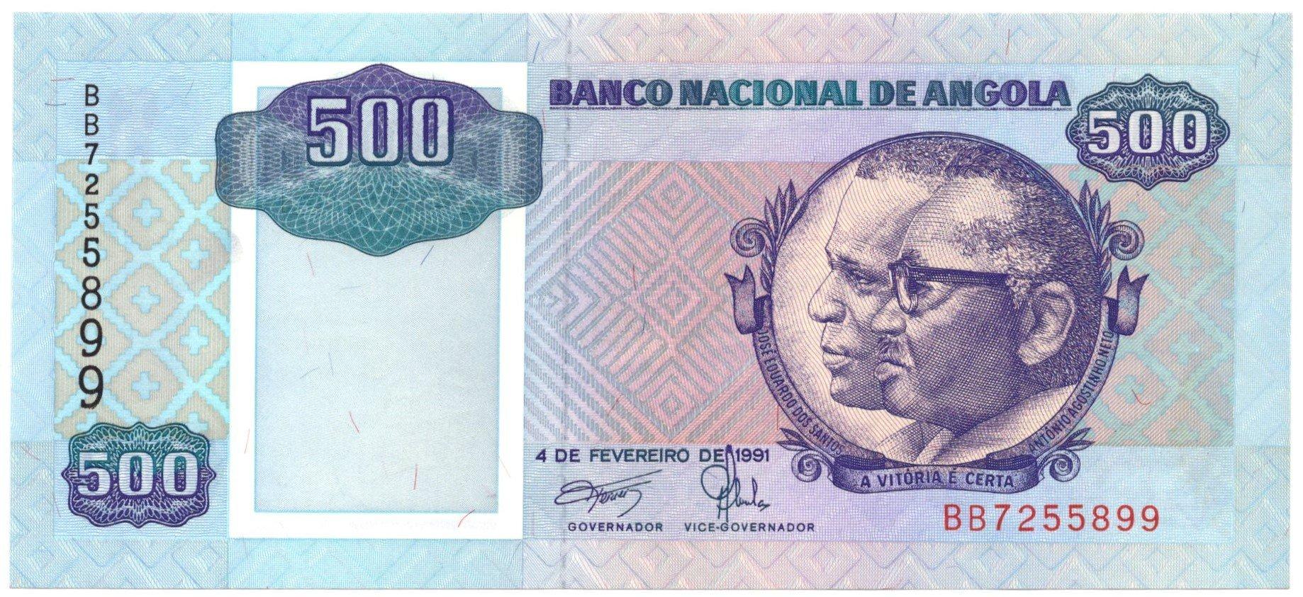 angola 500 kwwanzas 1991