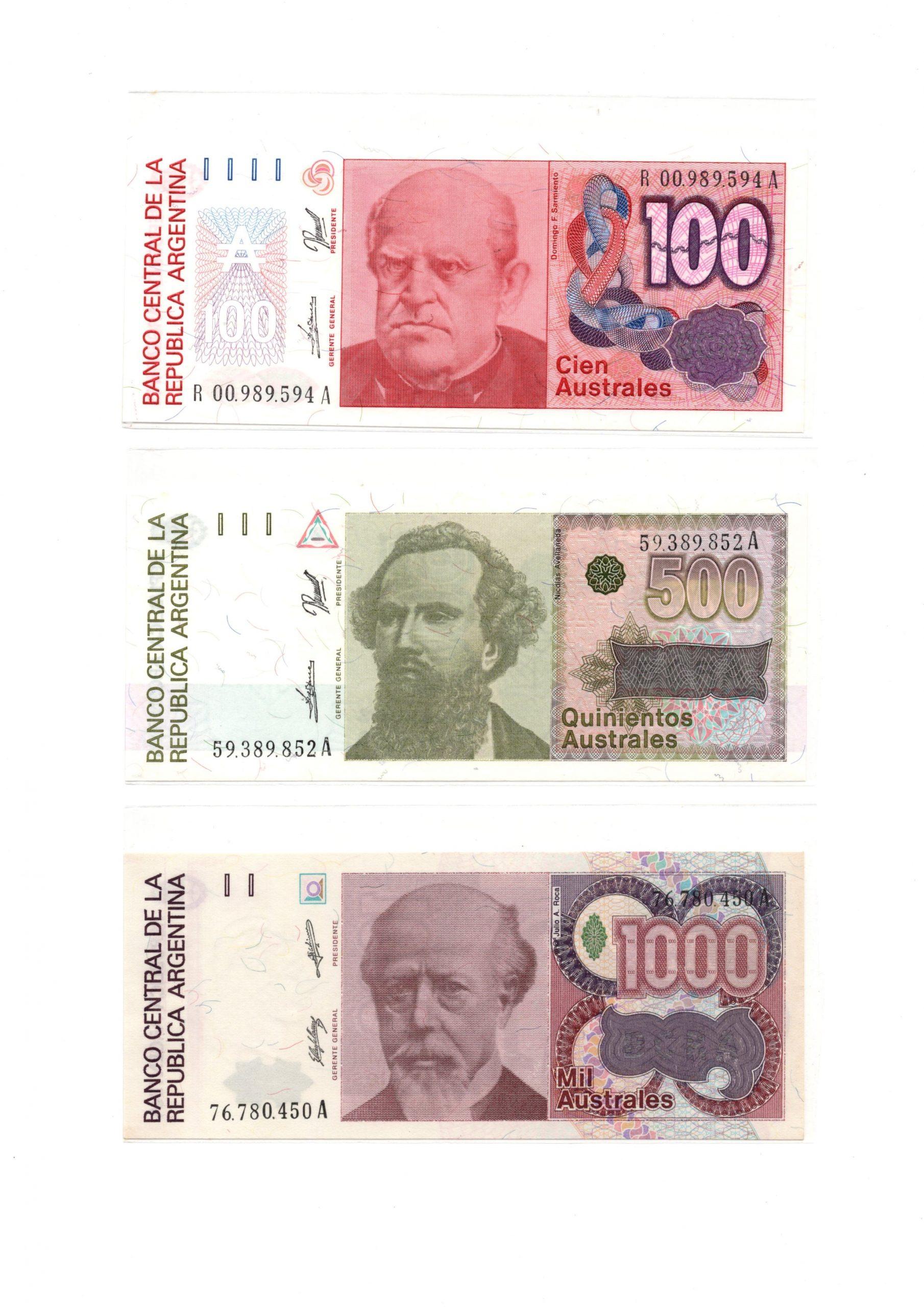 Argentina australes set 2 banknote