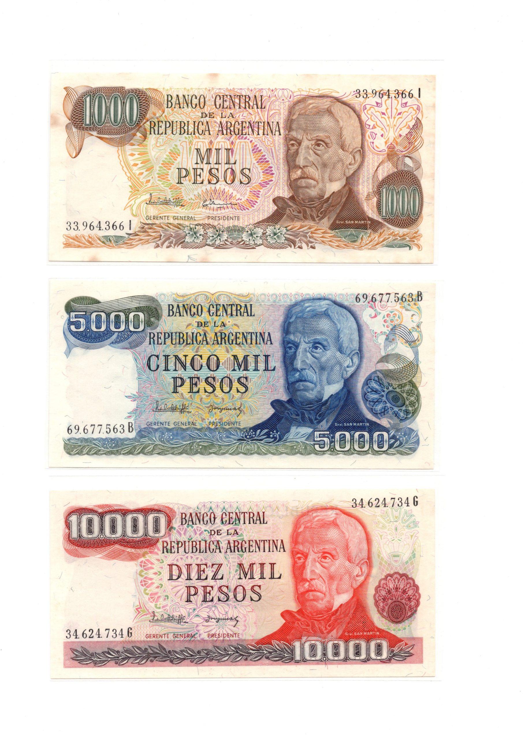 argentina set 3 banknote
