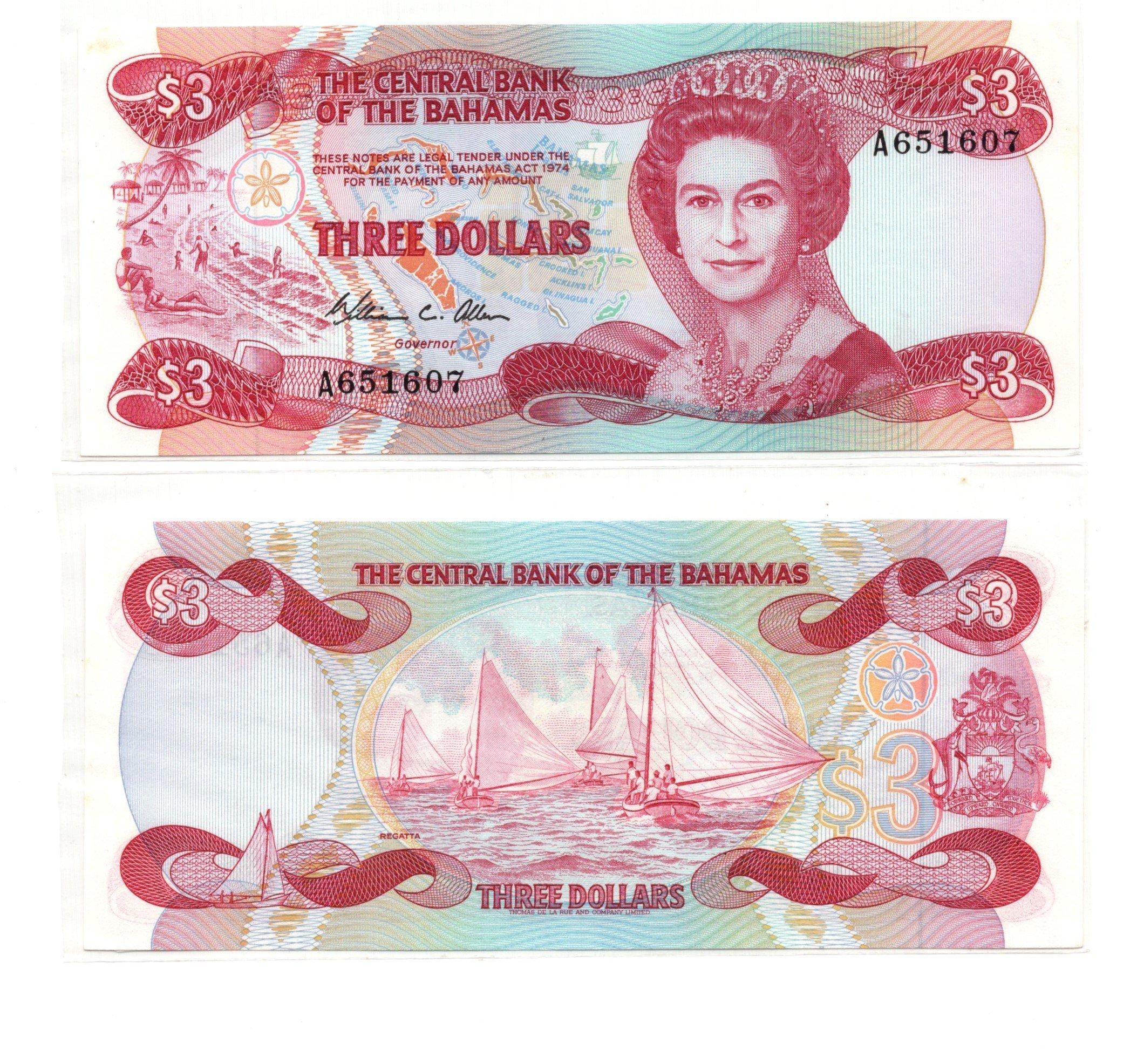 bahamas 3 dollars 1984