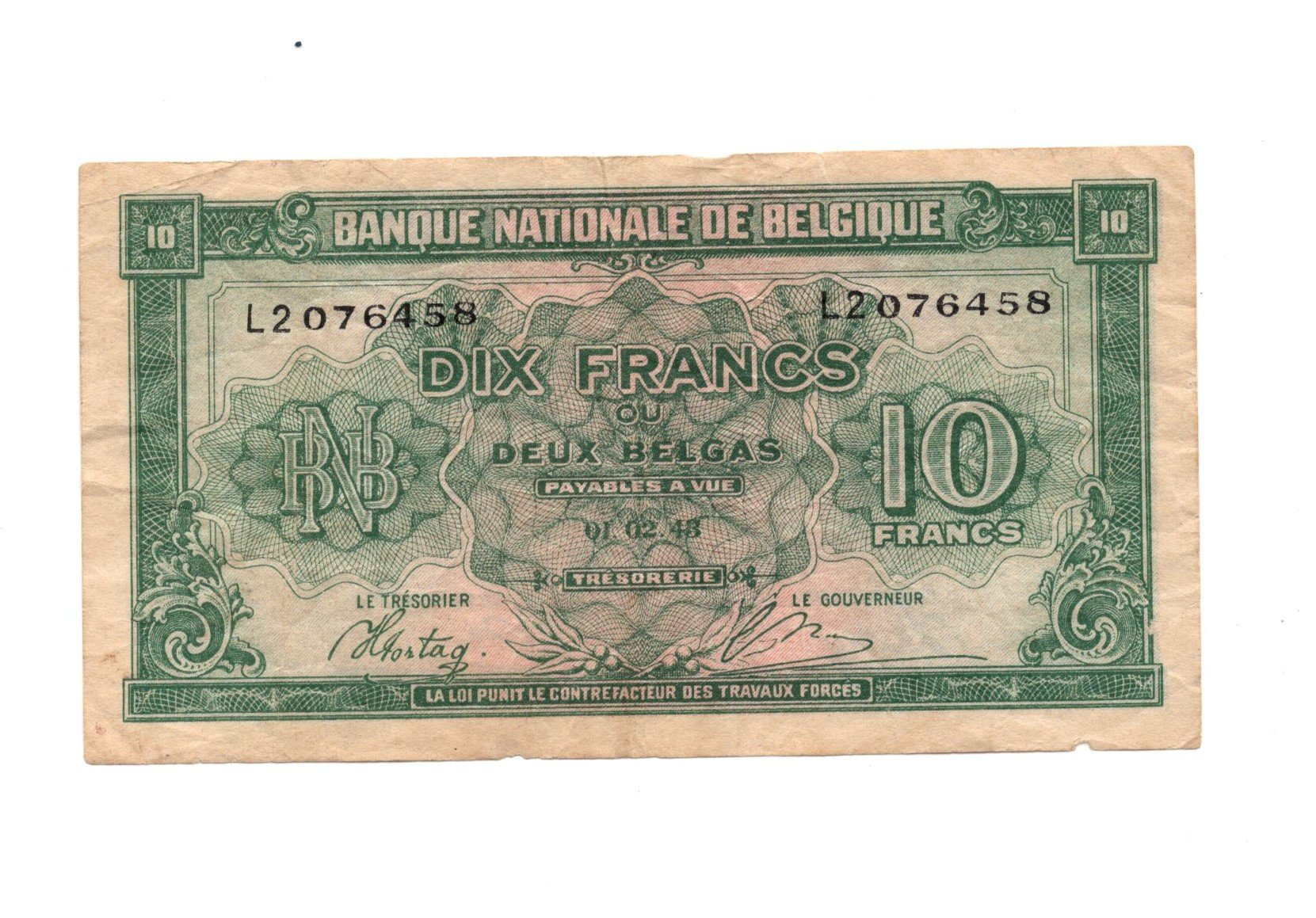 belgium 10 francs 1948