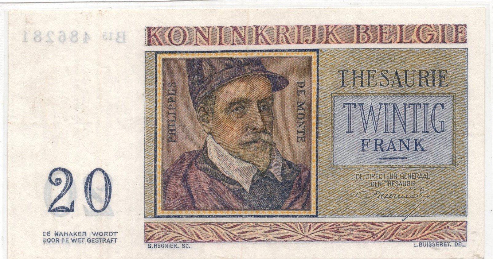 bellgium 20 francs 1956