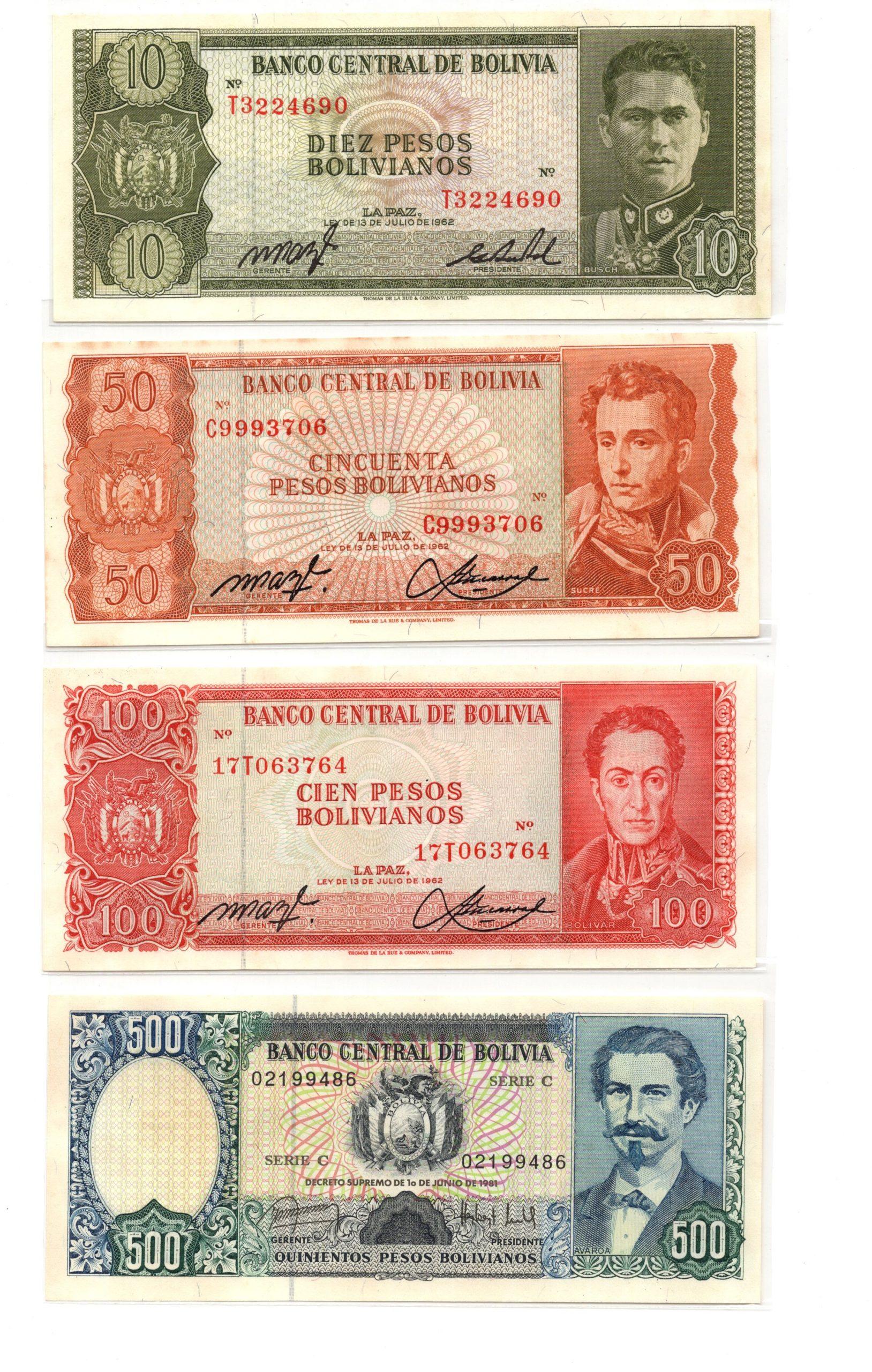 Bolivia banknote set