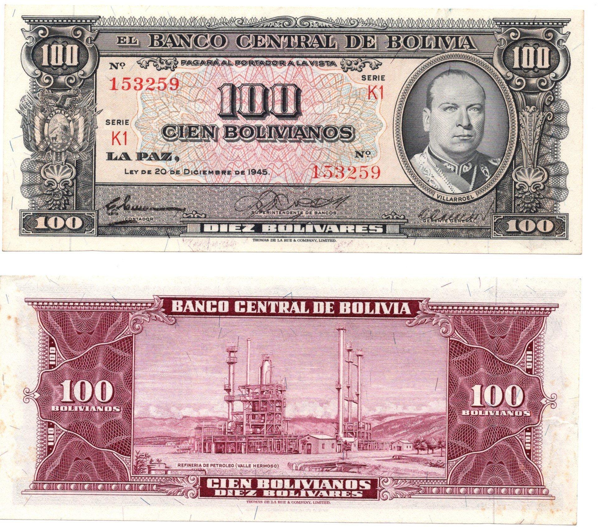 bolivia 100 bolivanos 1945