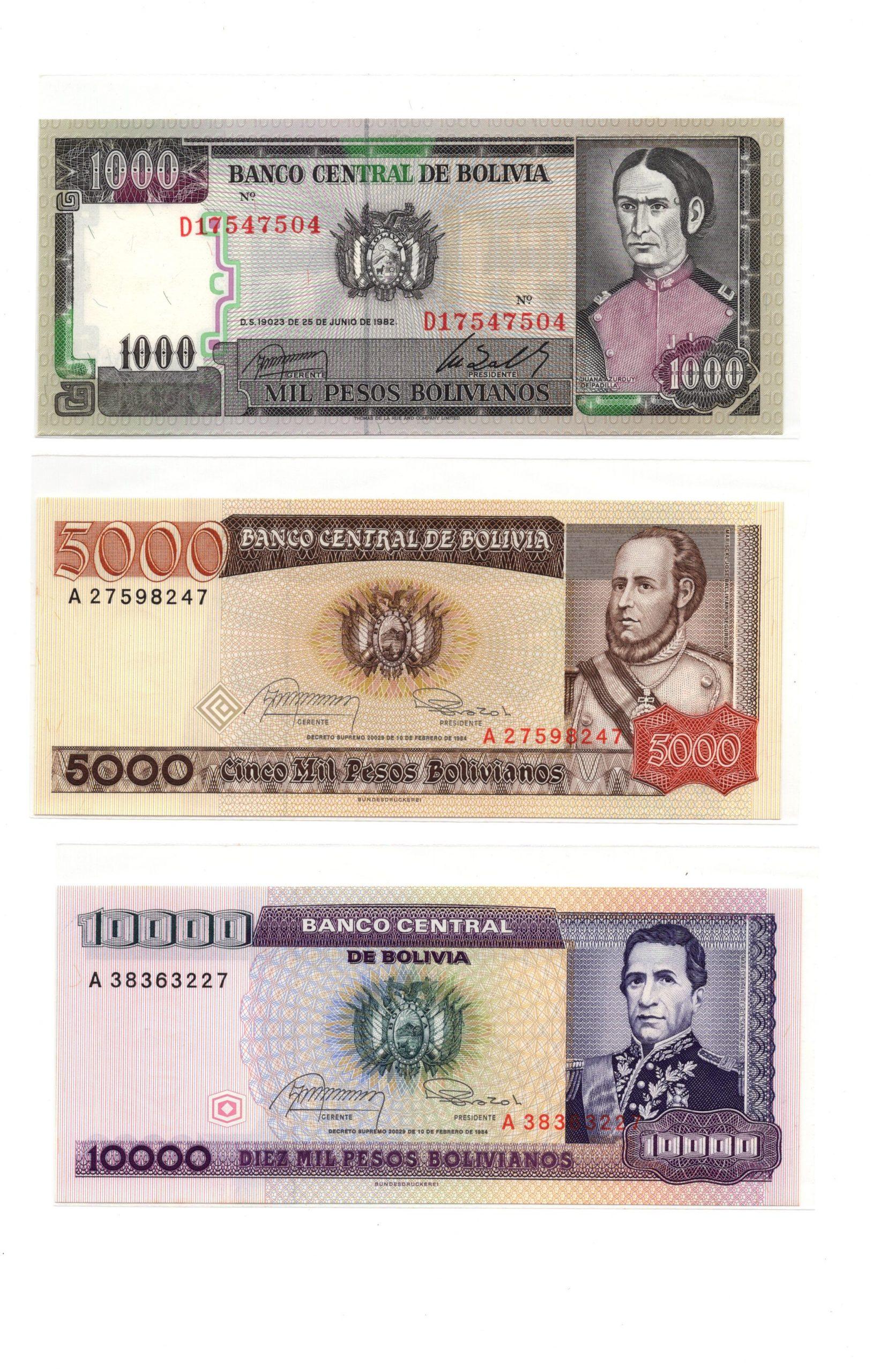 Bolivia banknote set 2