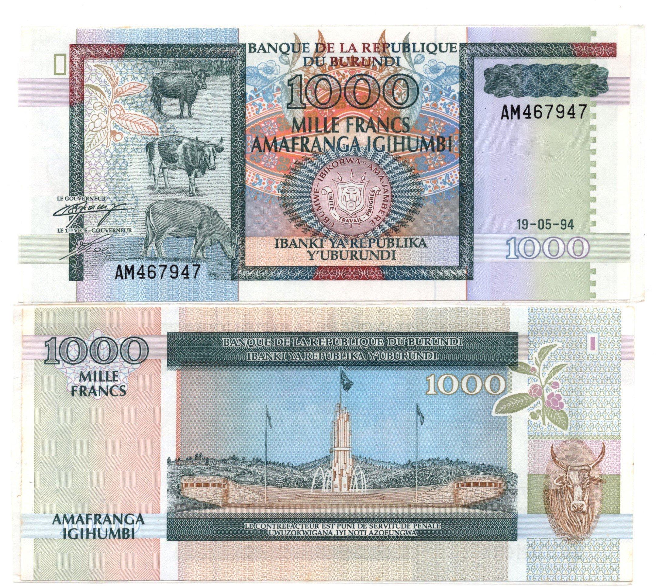 burundi 1000 francs 1994