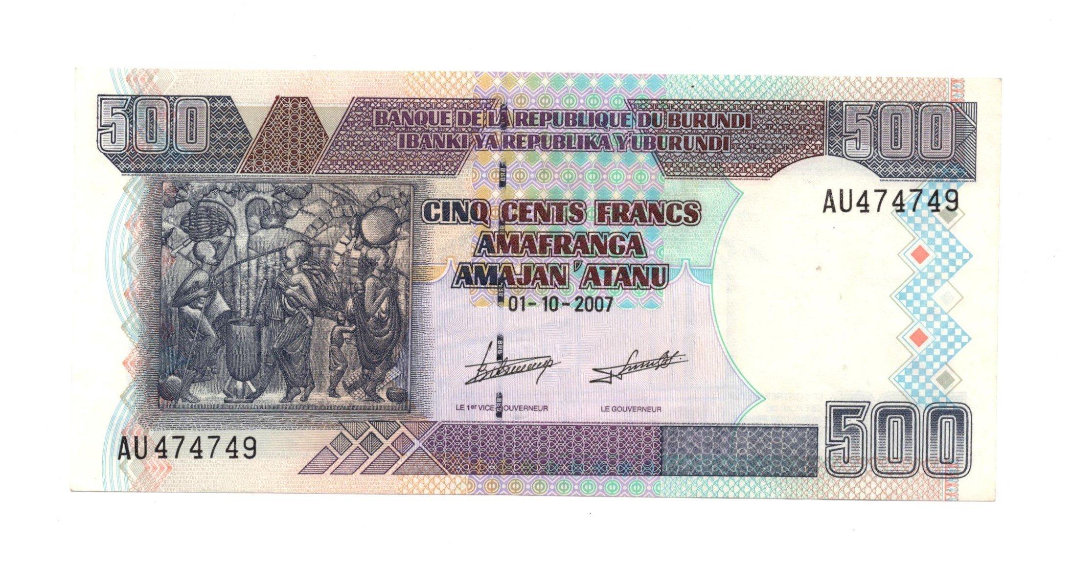 burundi 500 francs 2007