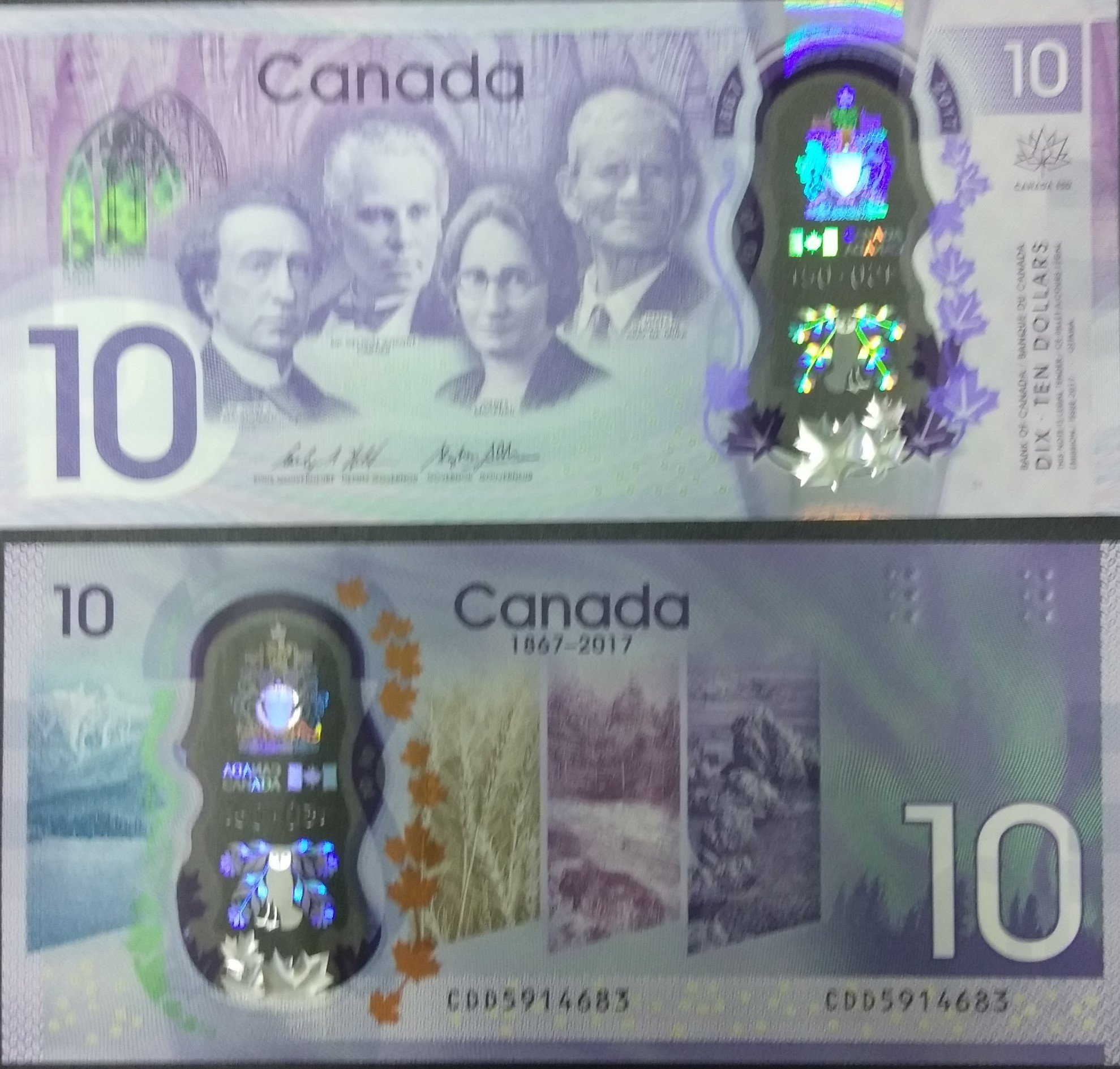 Canada 10 dollars polymer banknote for sale