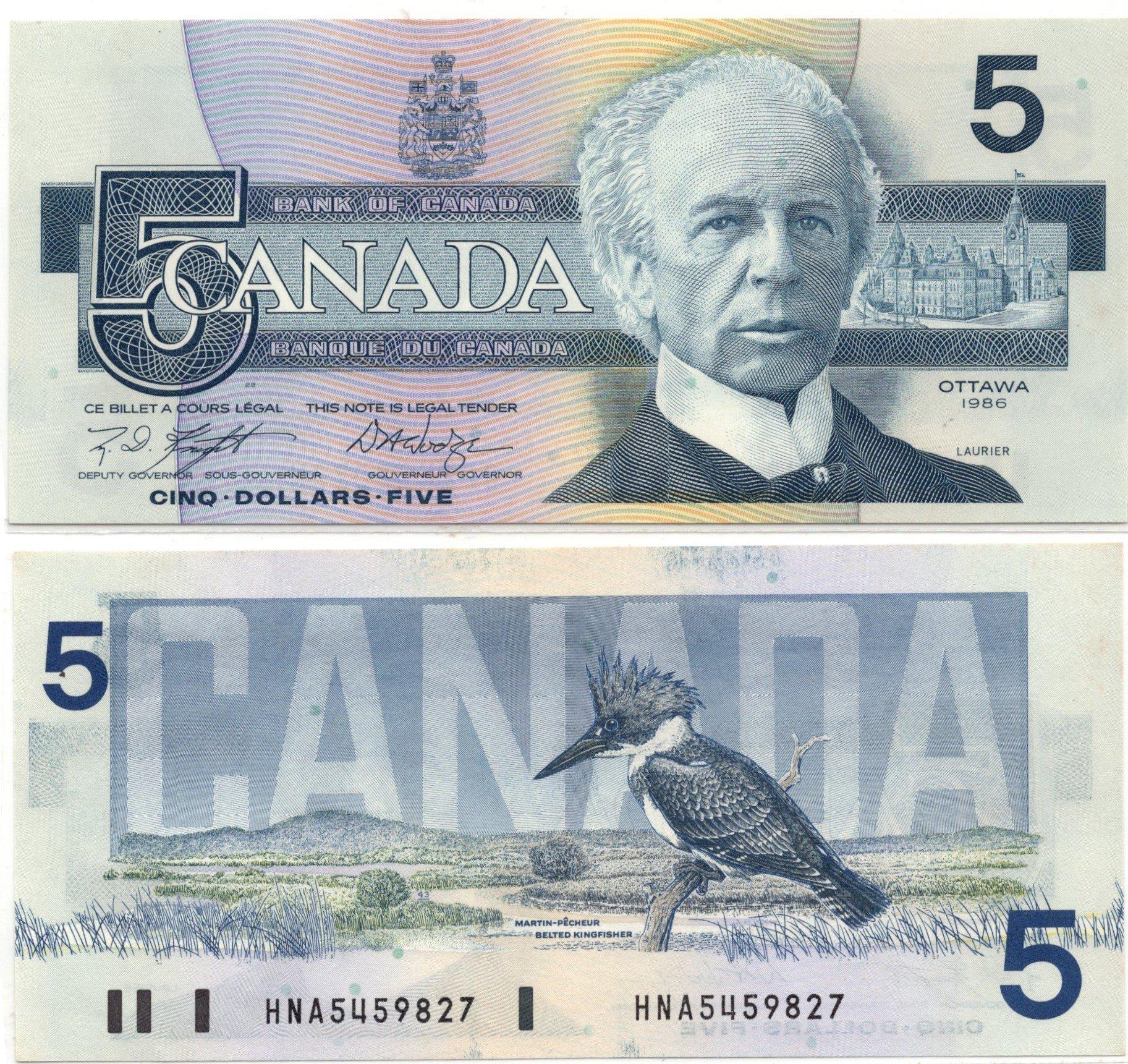 Canada 5 dollars 1986