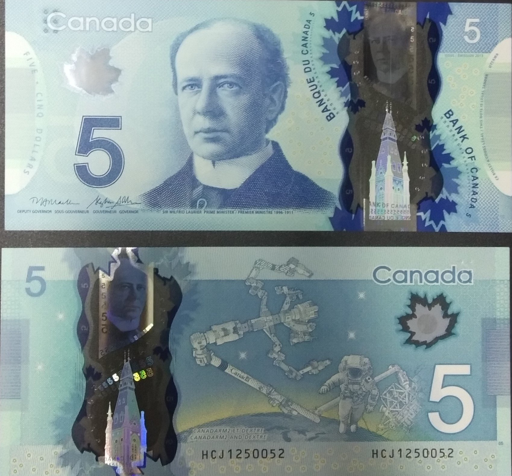 Canada 5 dollars polymer banknote for sale