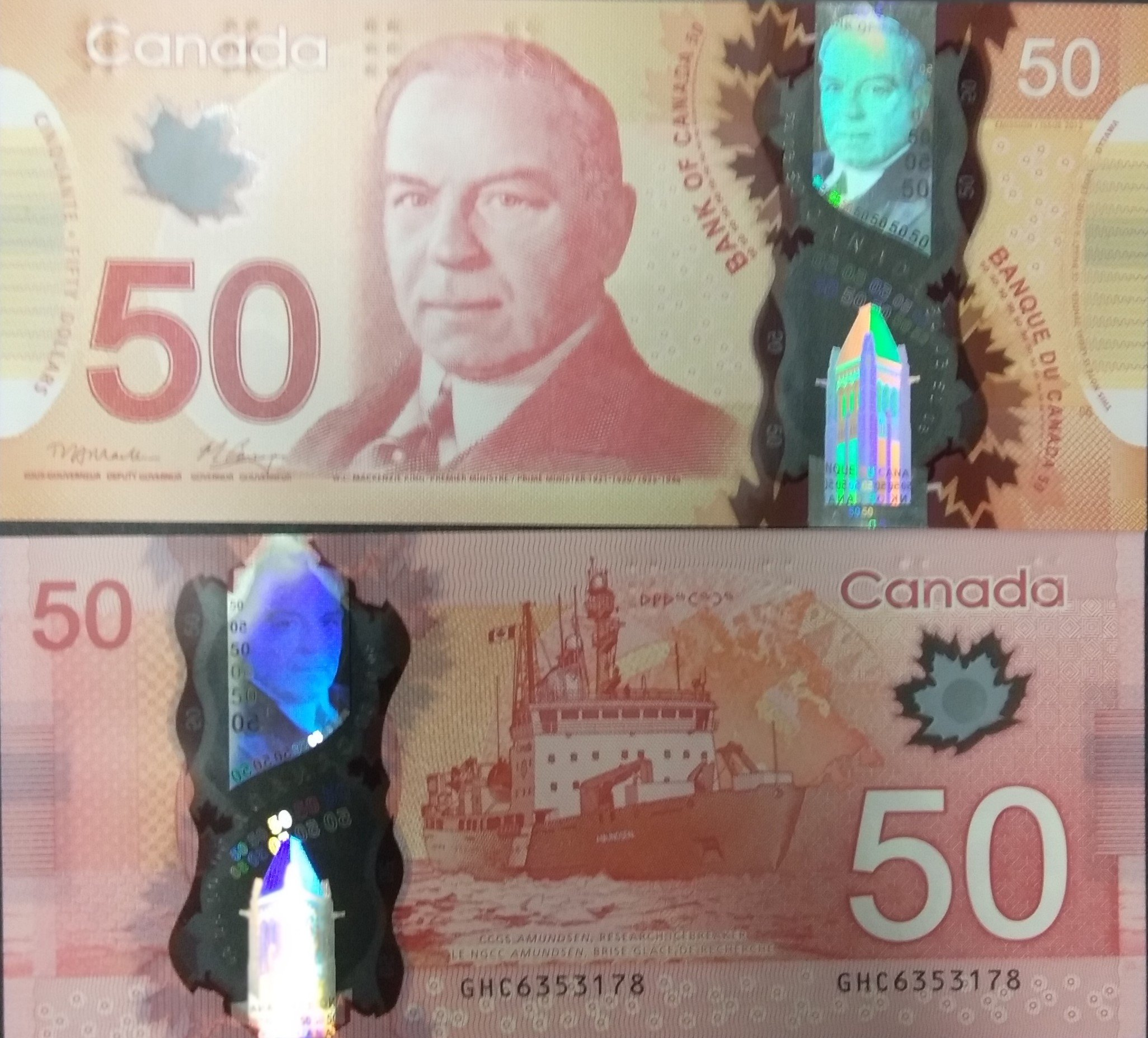 Canada 50 dollars polymer banknote for sale