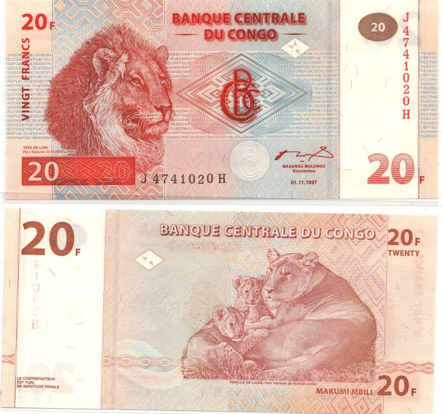 congo 20 francs 1997