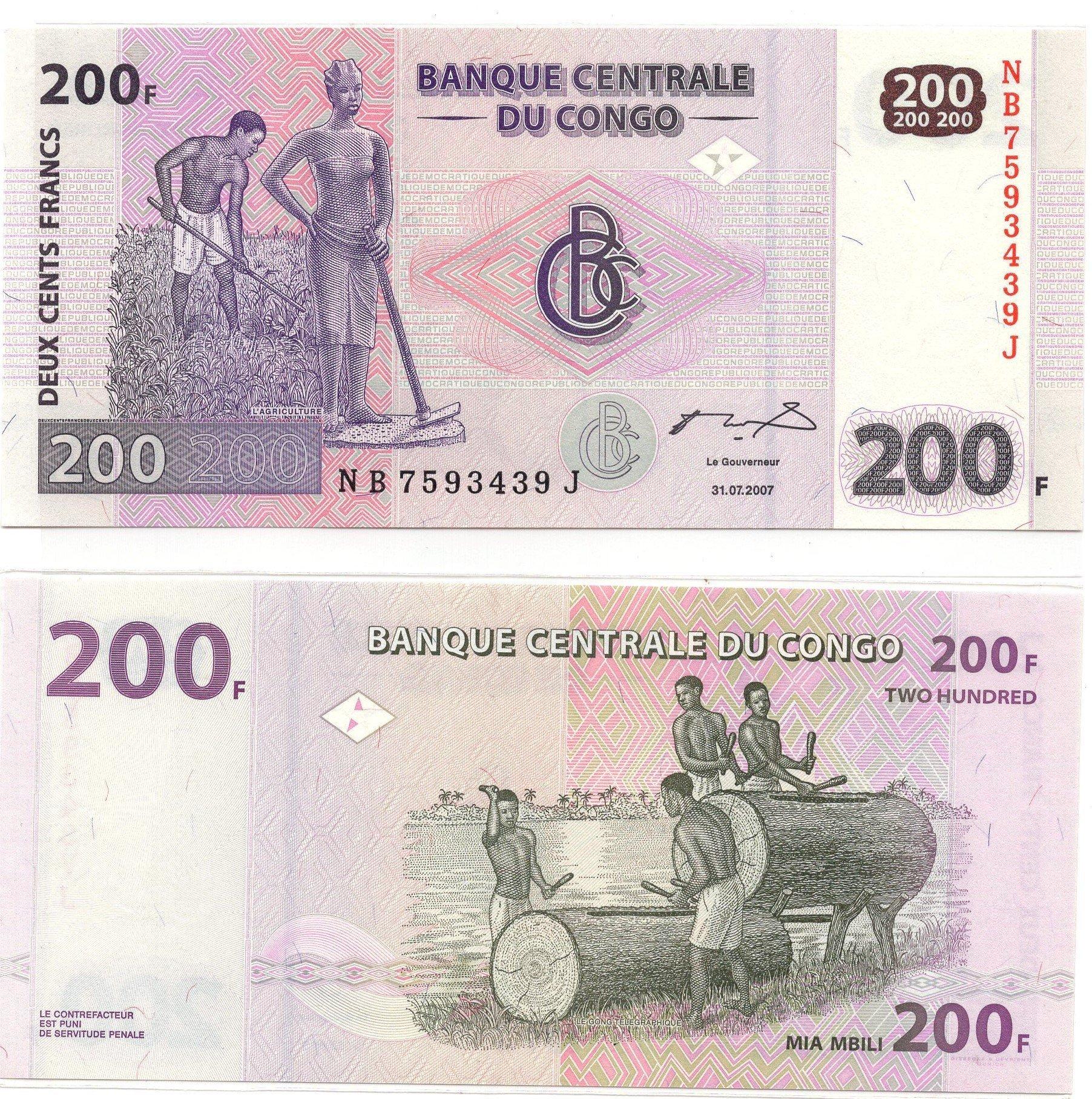 congo200 francs 2007
