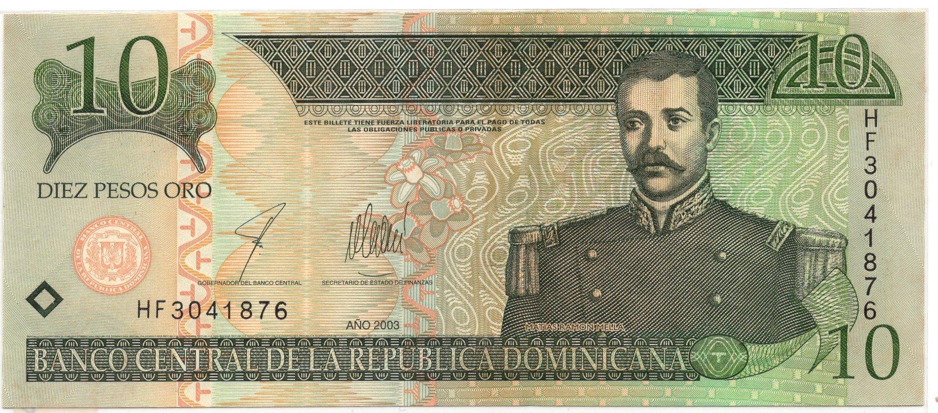 dominican republic 10 pesos 2003