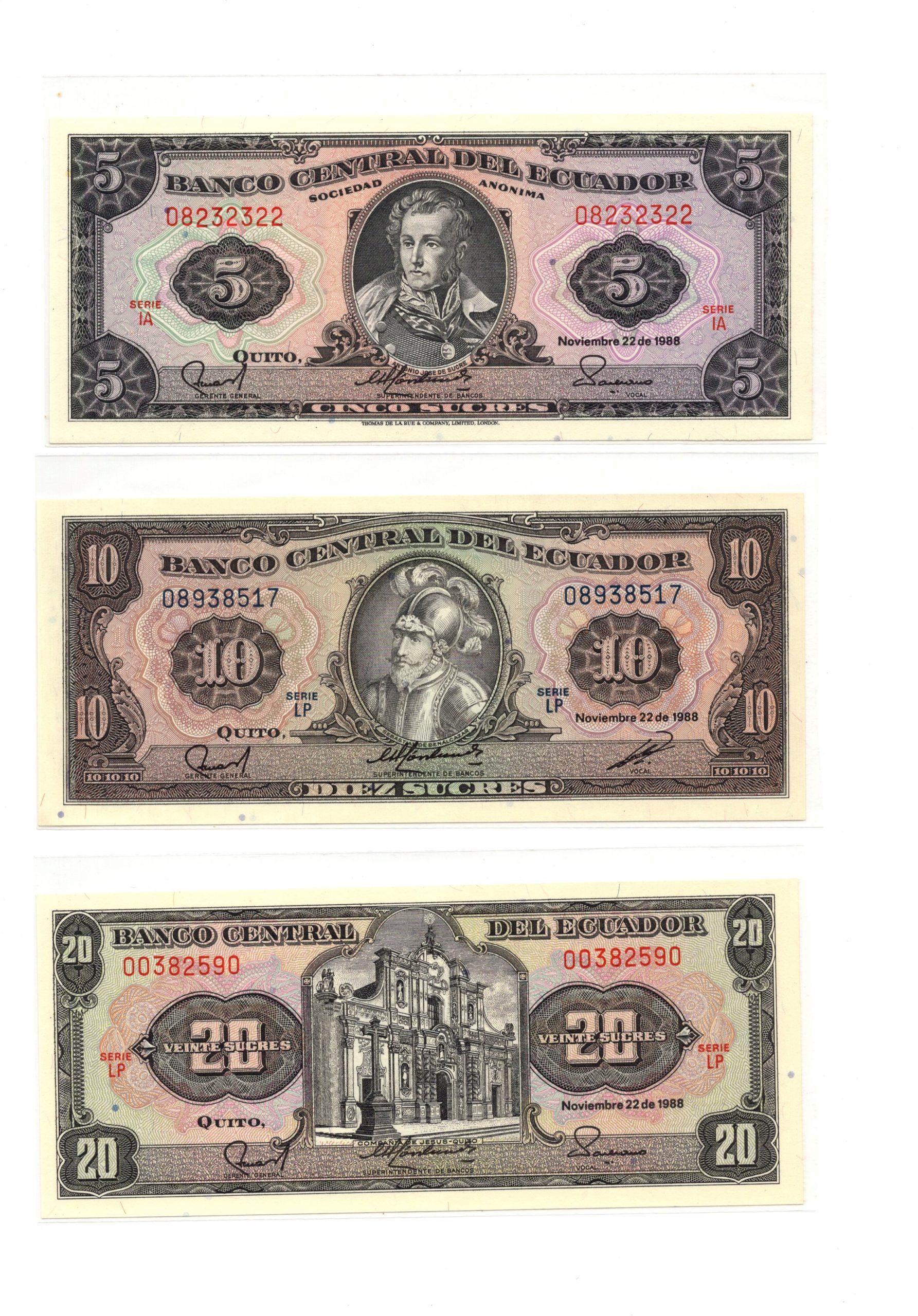 ecuador banknote set