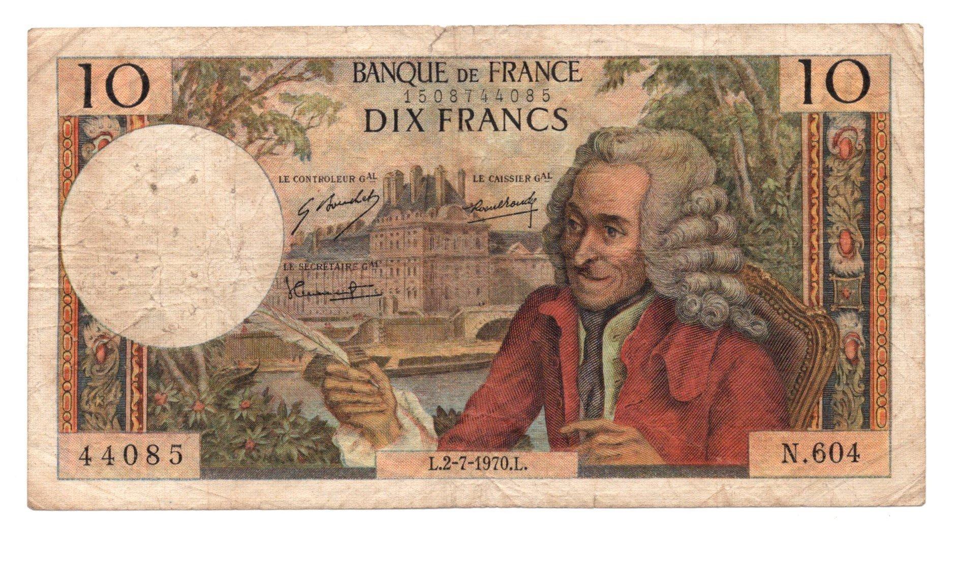 france 10 francs 1970 banknote