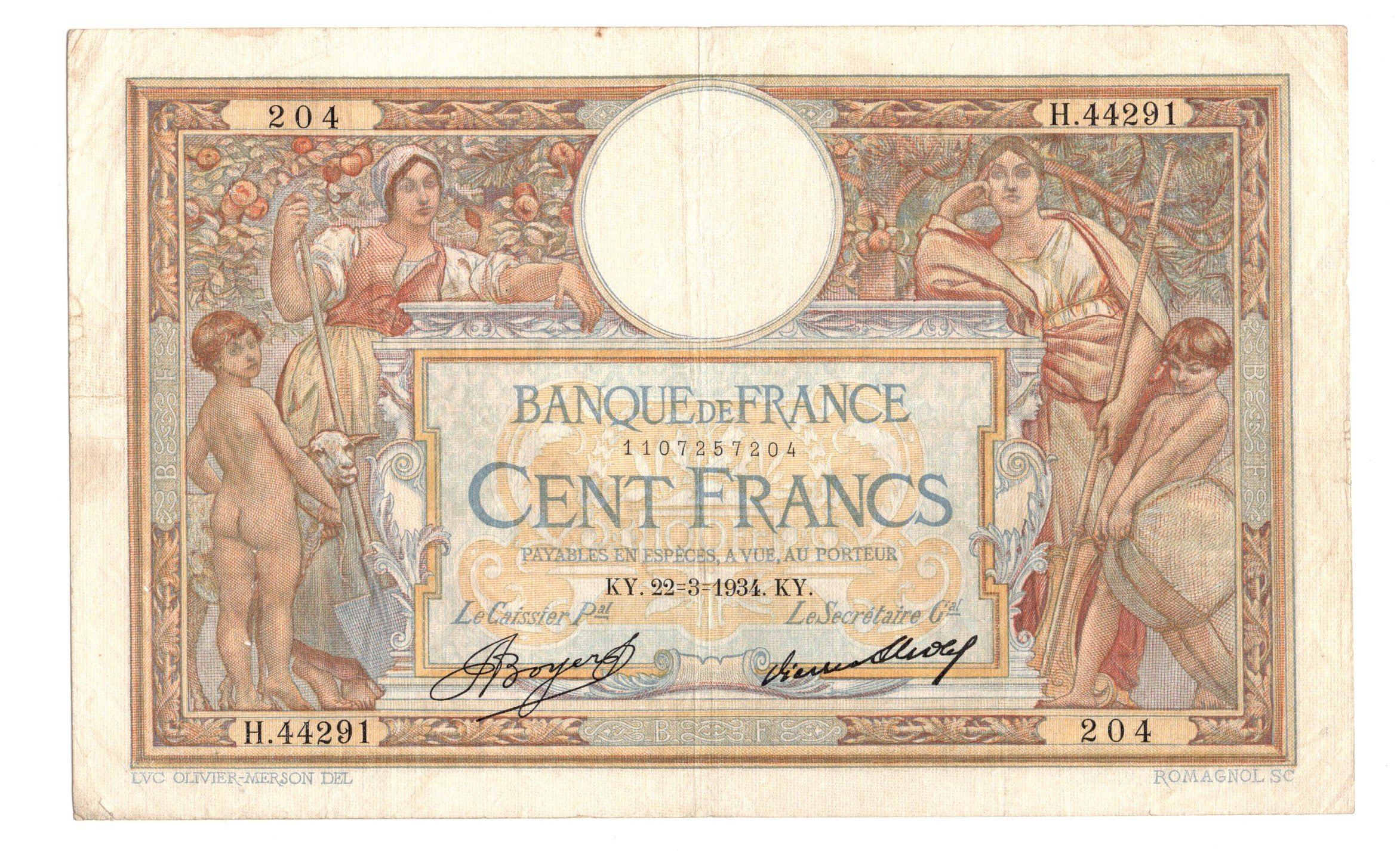 france 100 gfrancs 1934