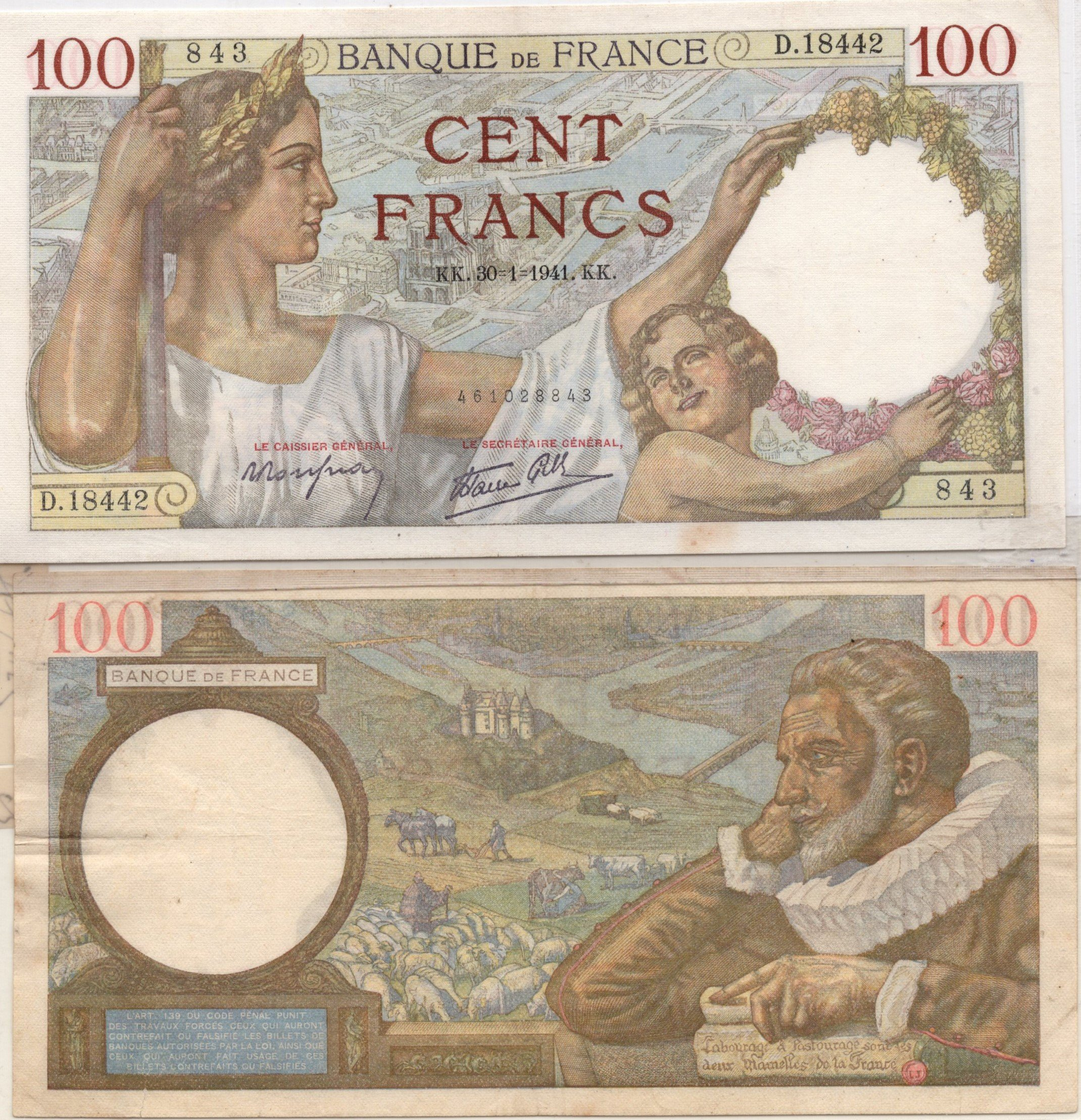 france 100 francs 1941