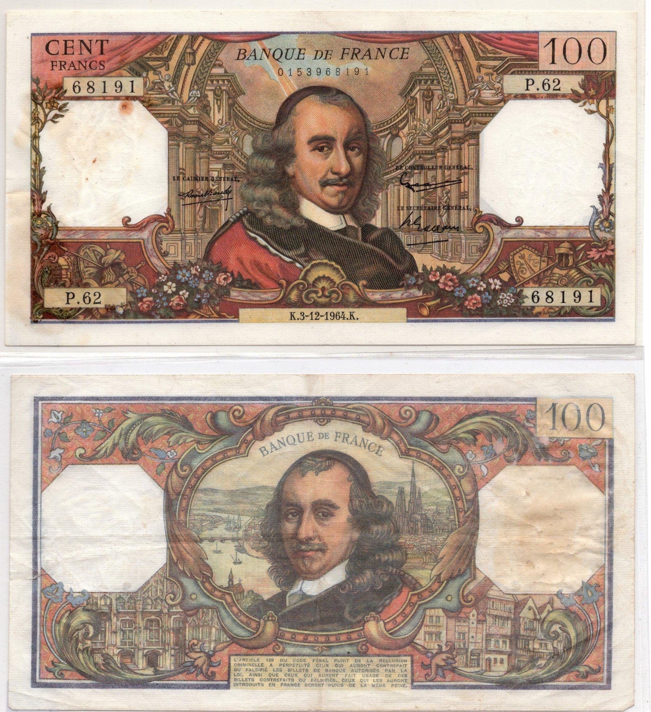 france 100 francs 1961
