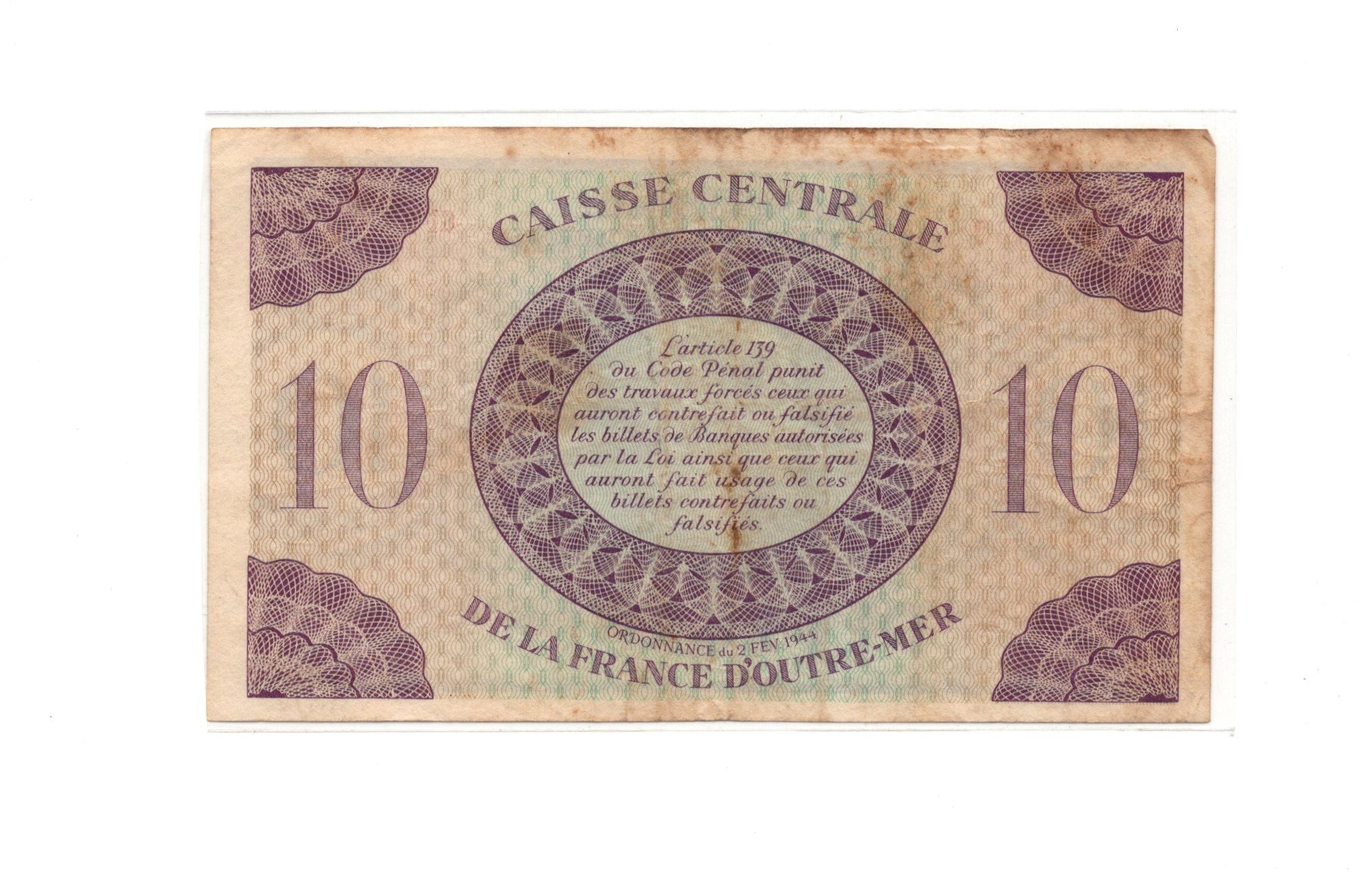guadeloupe 10 francs banknlote