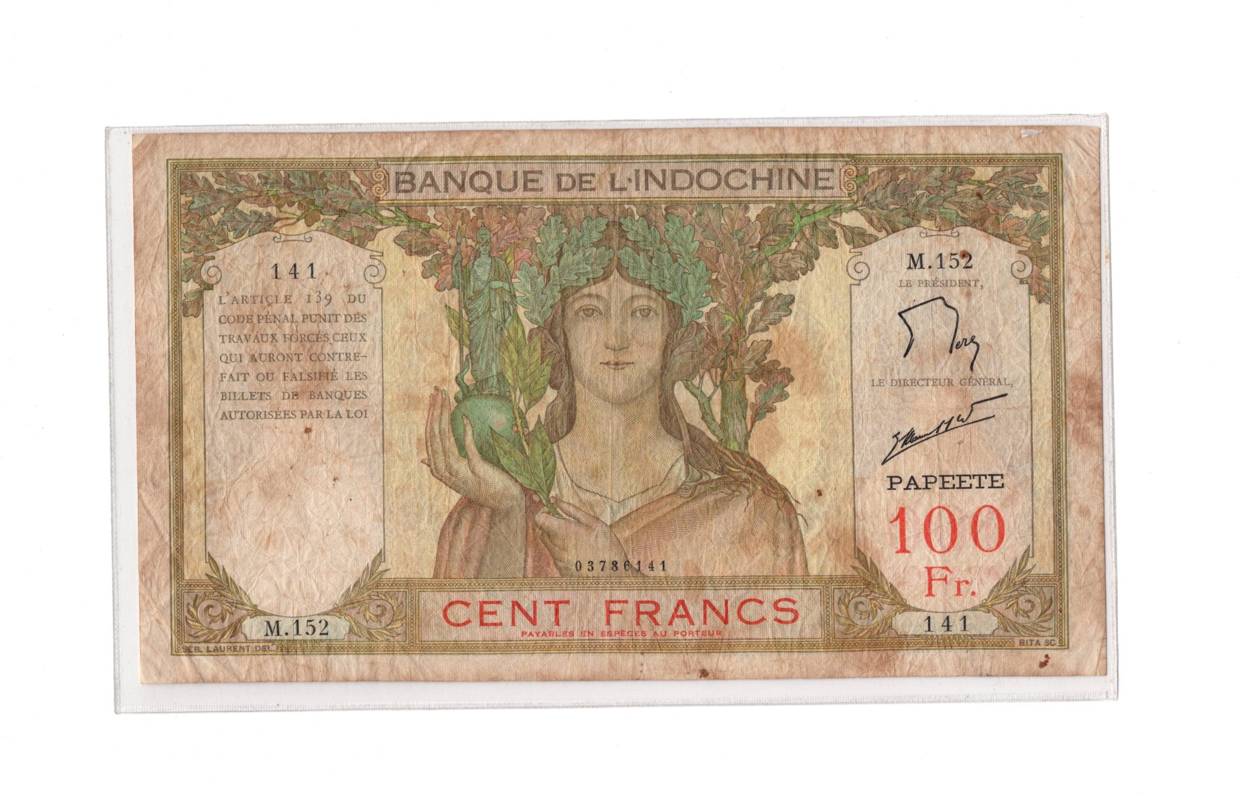 indochina tahiti 100 francs