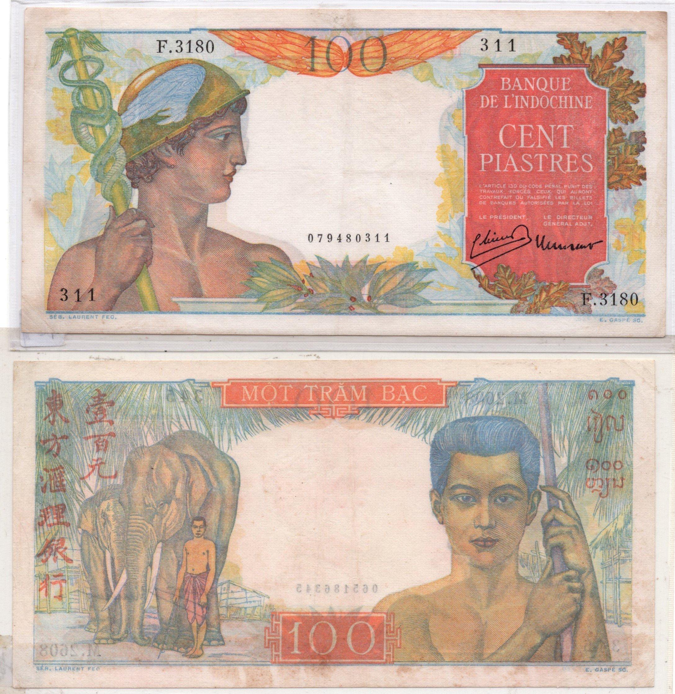 French idnochina 100 piastres