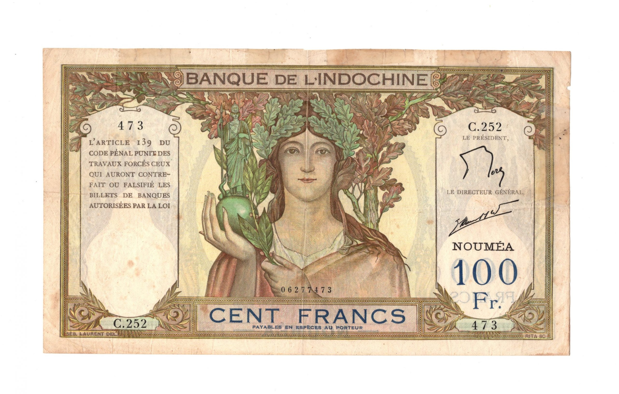 French Indochina new alwdonia 100 francs
