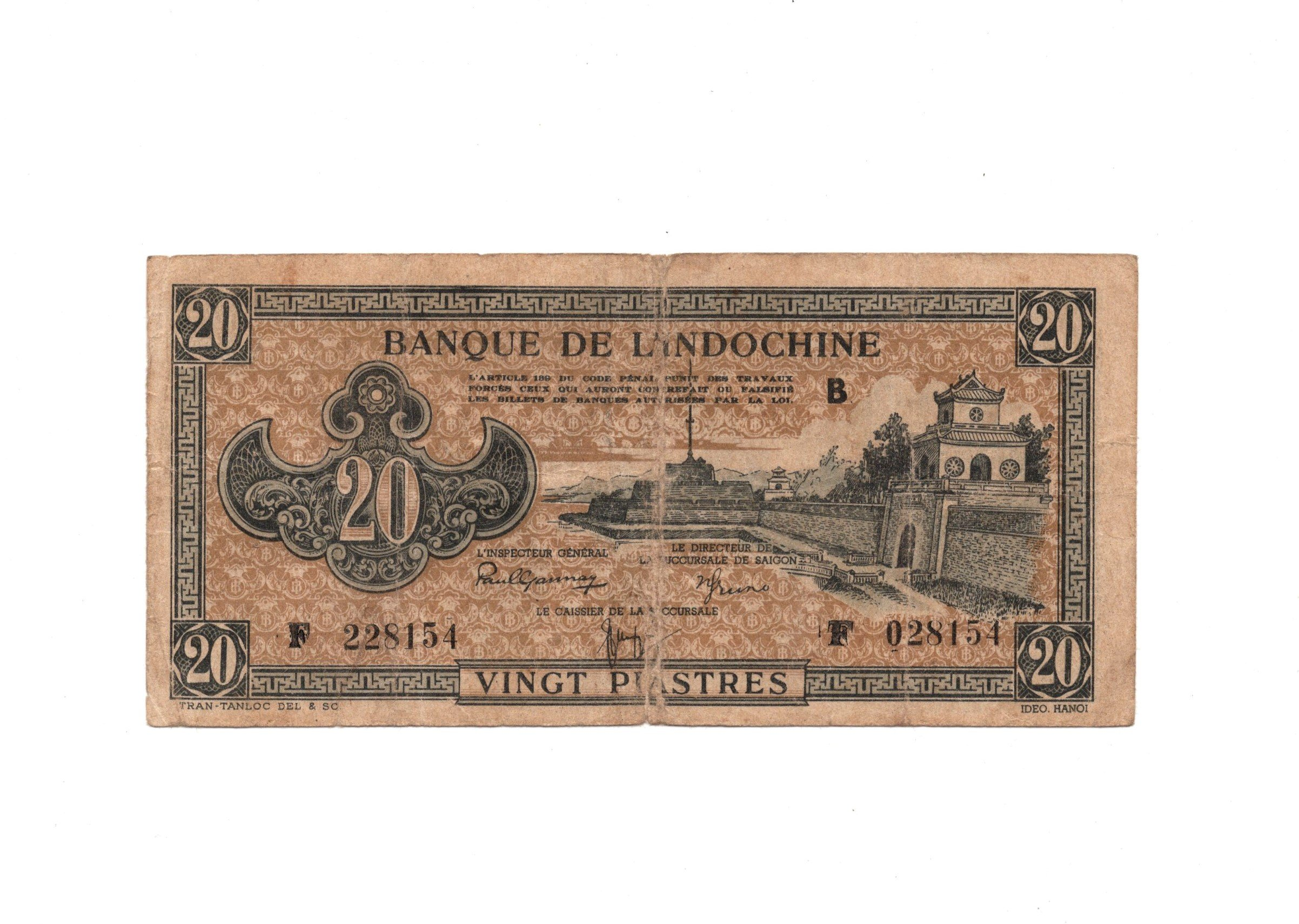 french indochina 20 piastres