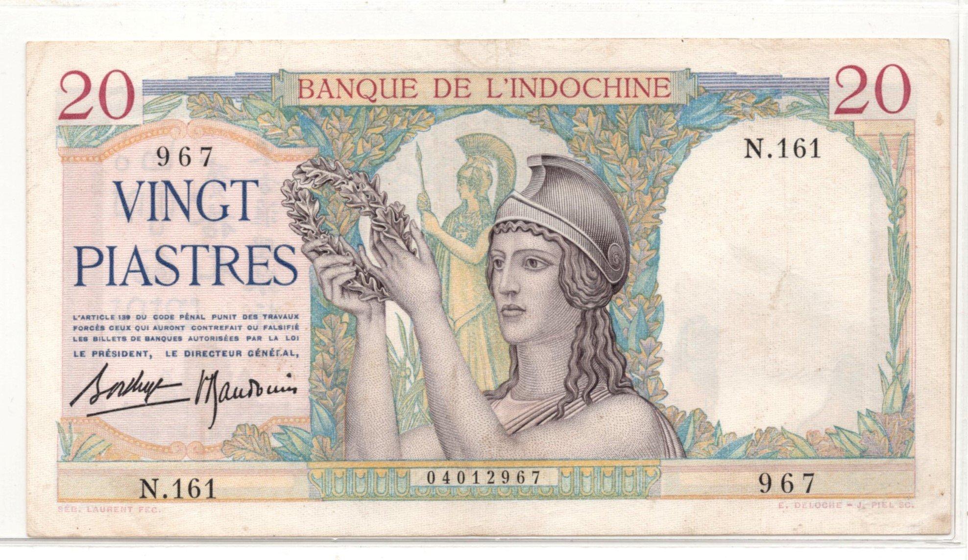 french idnochina 20 piastres