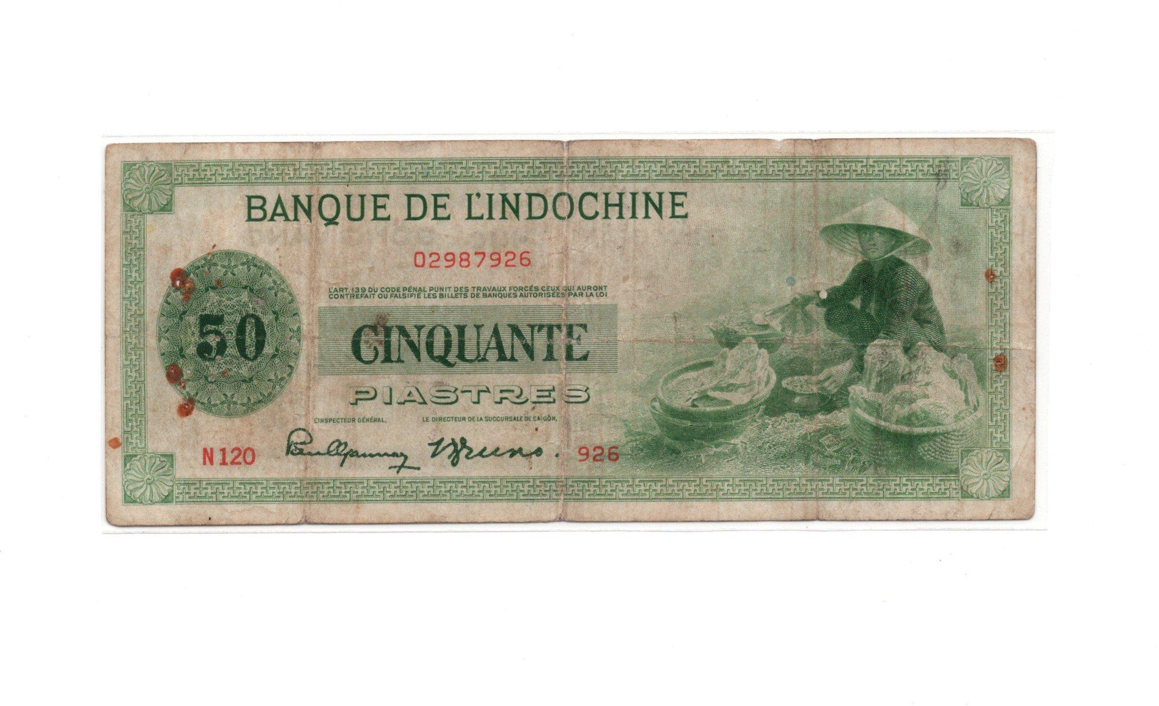 french idnochina 50 piastres 1945