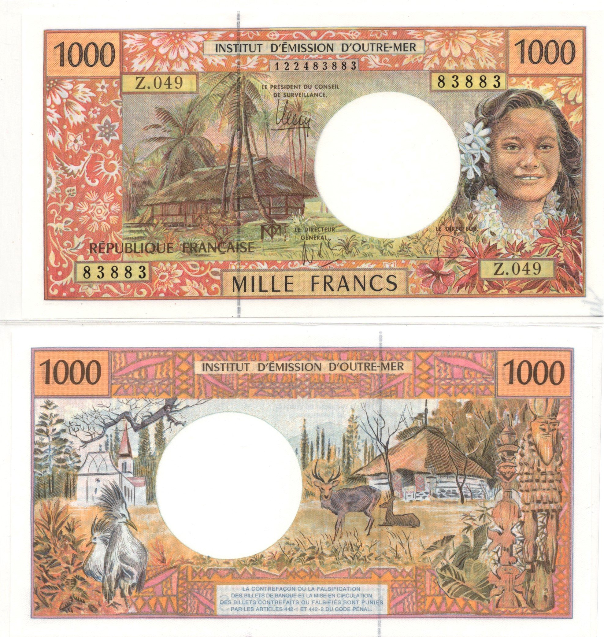 french pacific 1000 francs