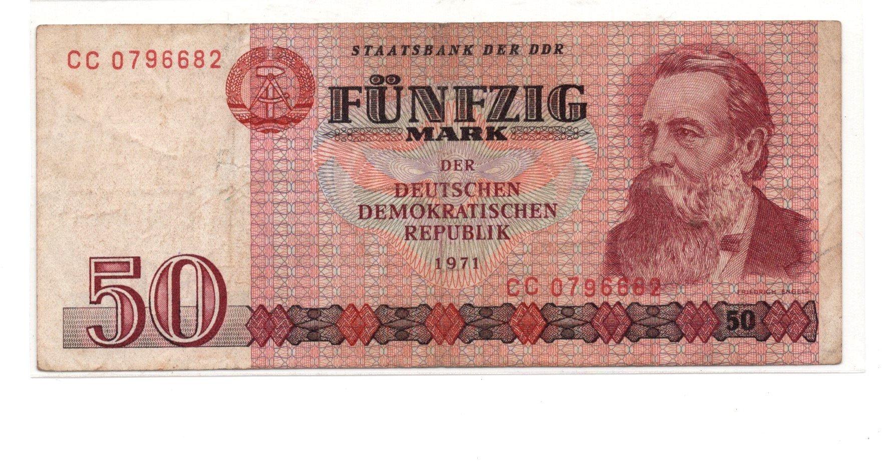 German demo republic 50 mark 1971