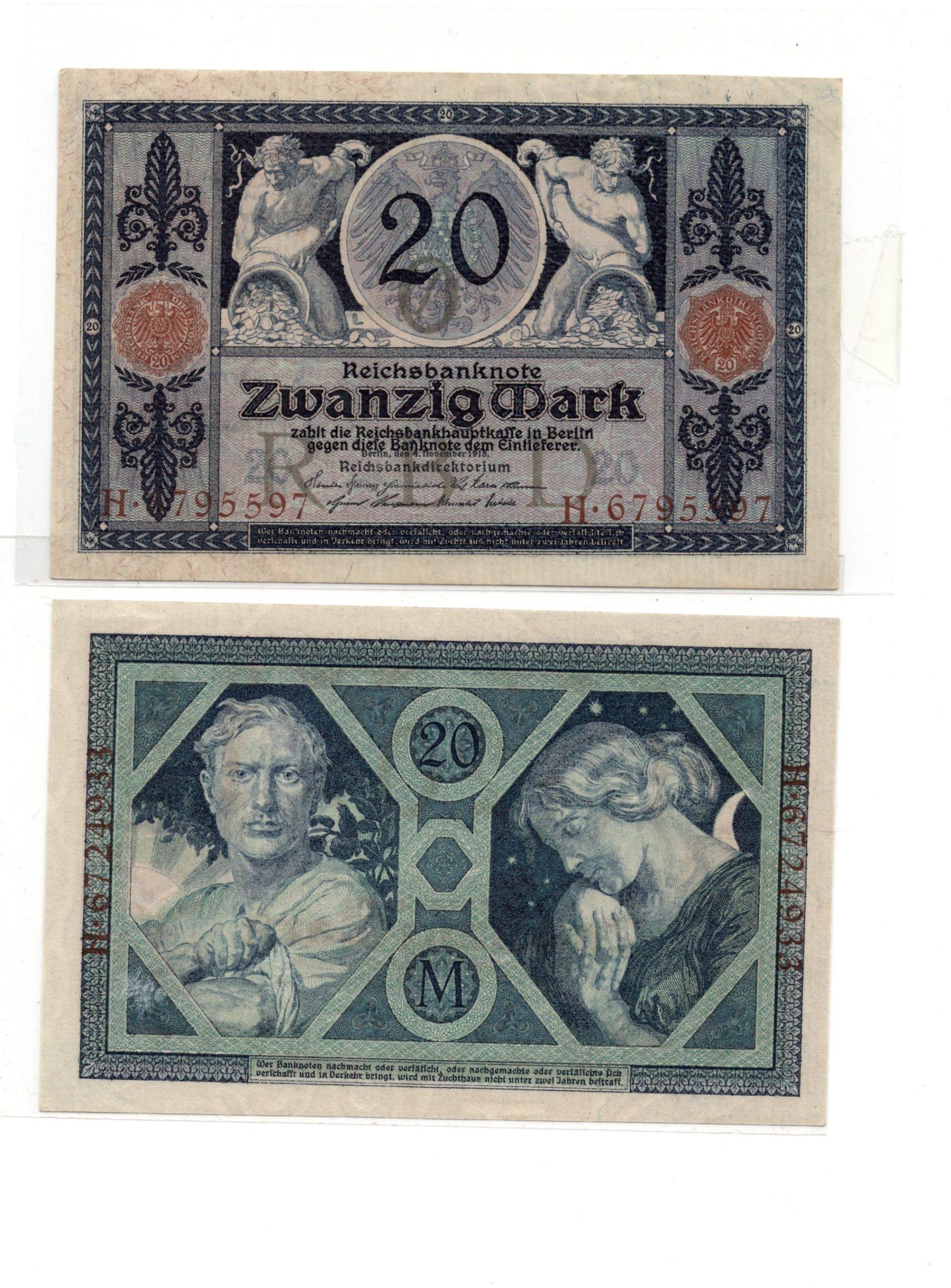 germany 20 mark 1915