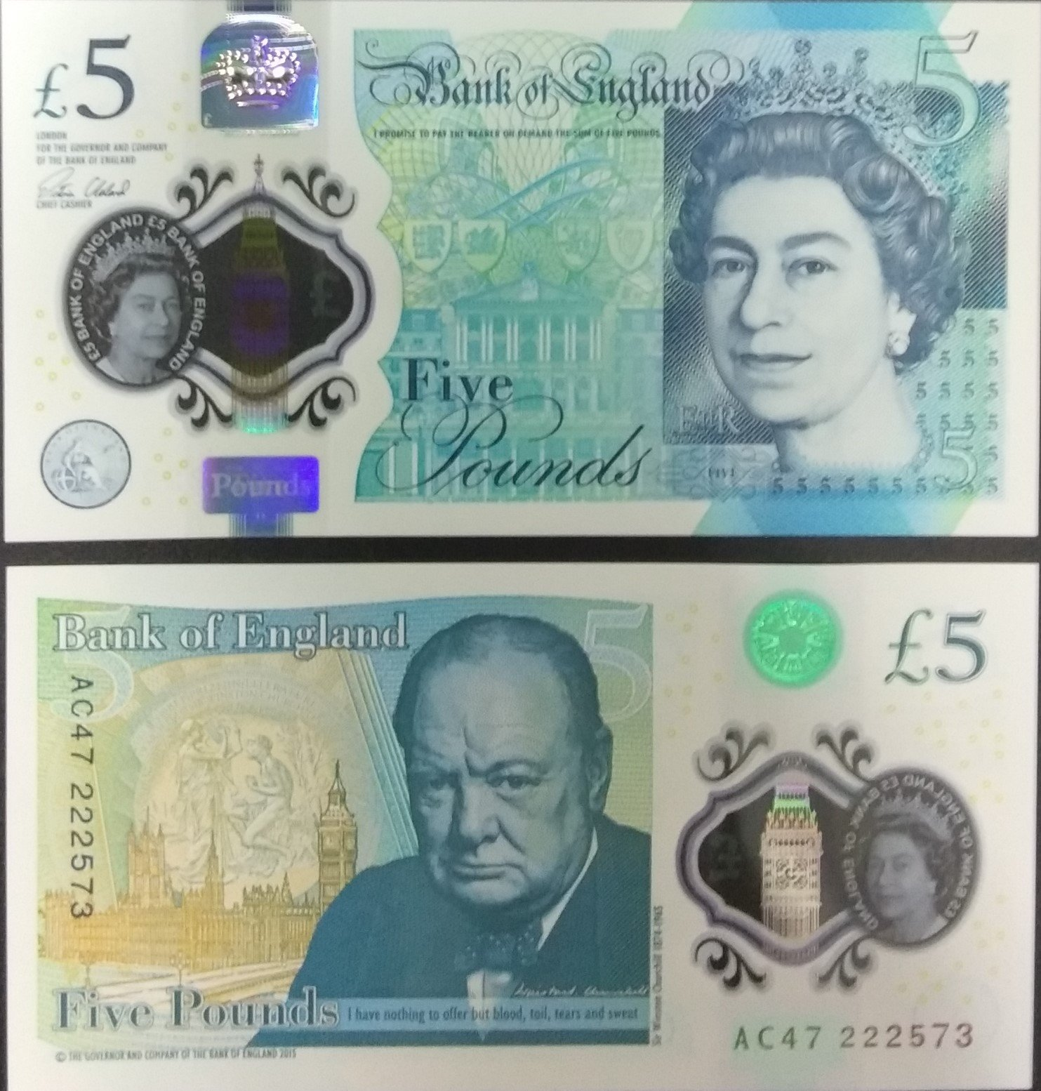 Great britain 5pounds polymer banknote for sale