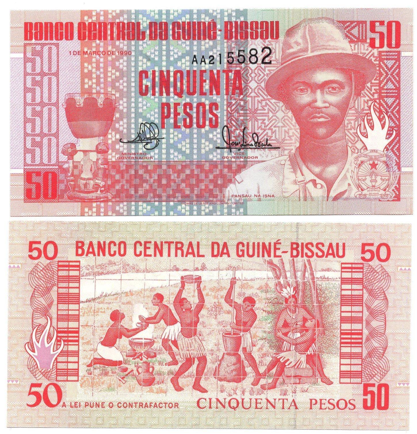 guinea bissau 50 pesos 1990
