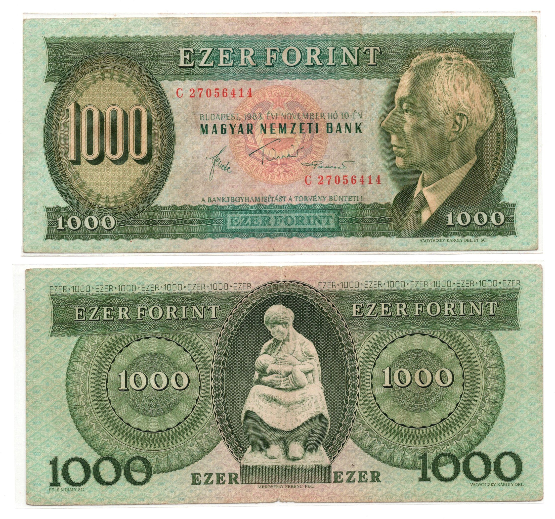 Hungary 1000 forint 1983 banknote for sale
