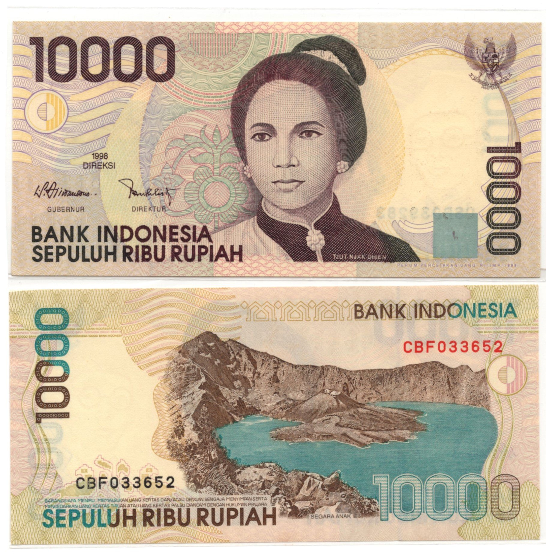 indonesia 10000 rupiah 1998