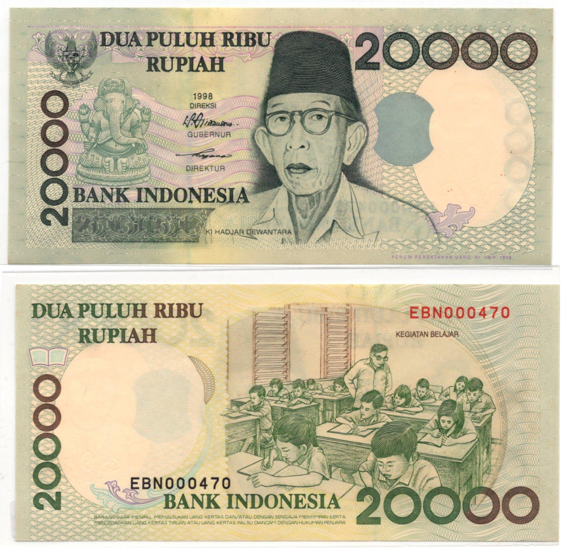 indonesia 20000 rupiah 1998