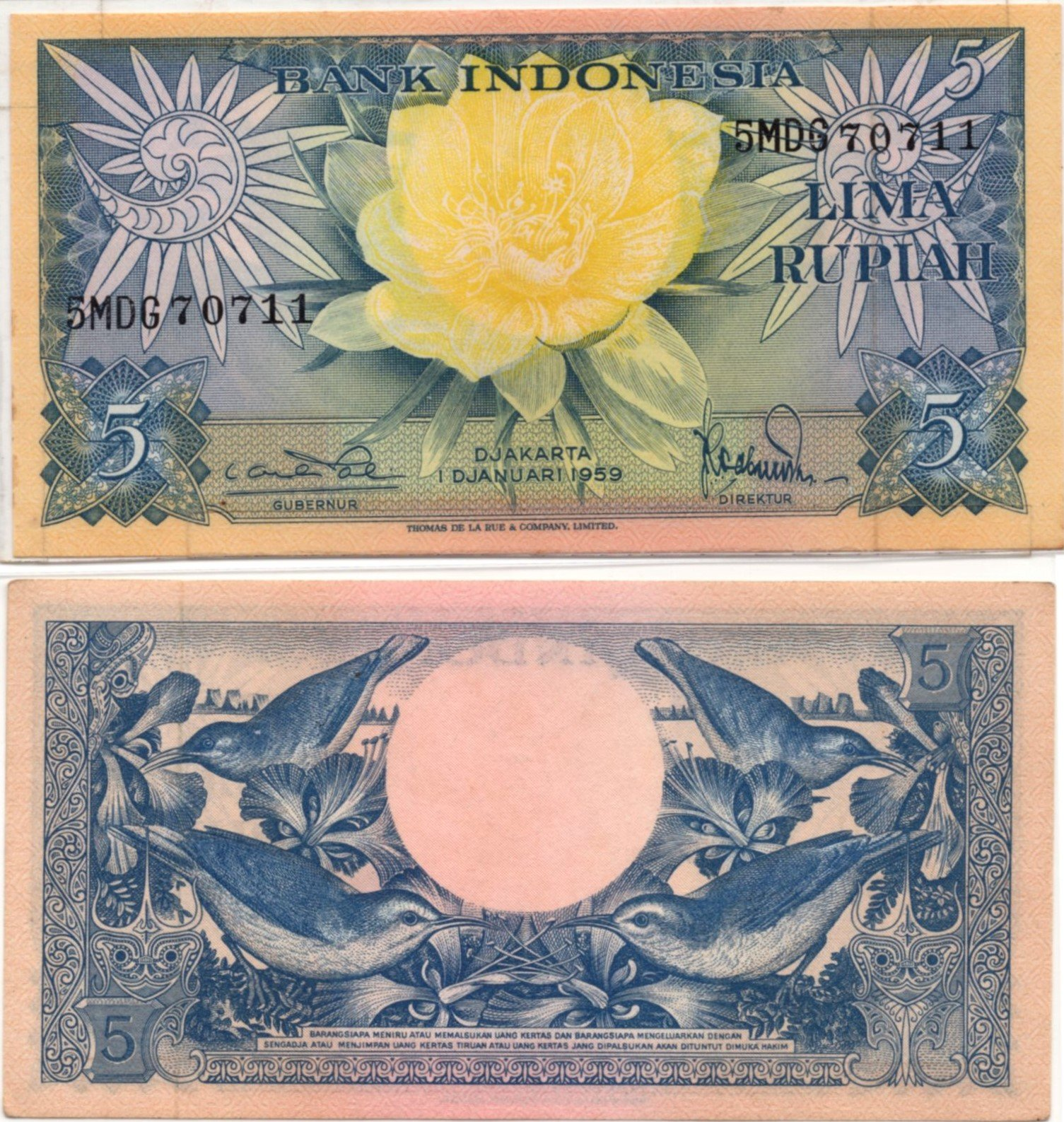Indonesia 5 rupiah 1959