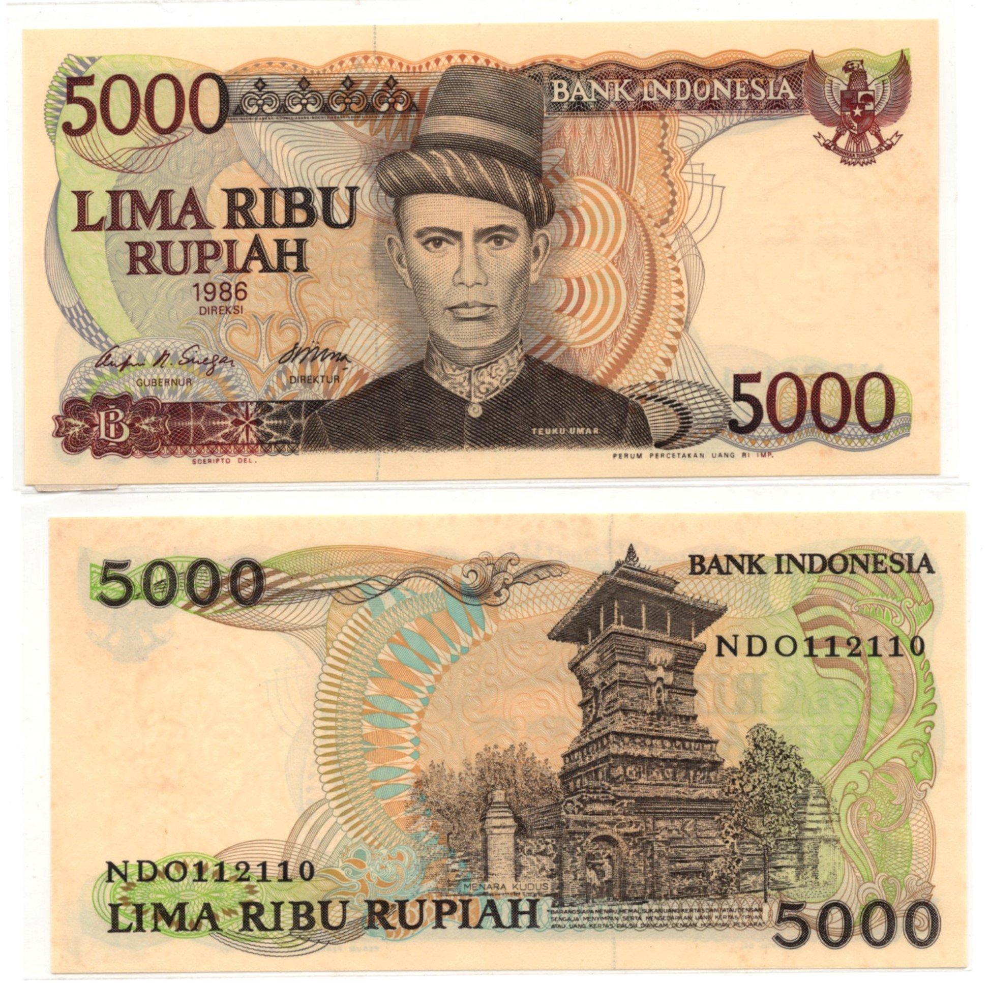 indonesia 5000 rupiah 1986