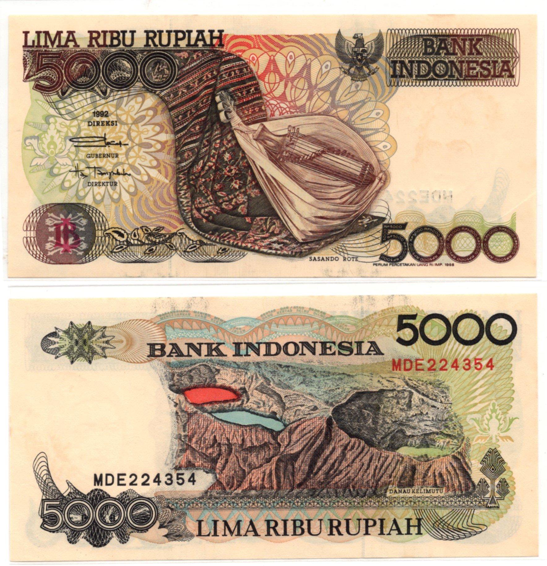 indonesia 5000 rupiah 1992