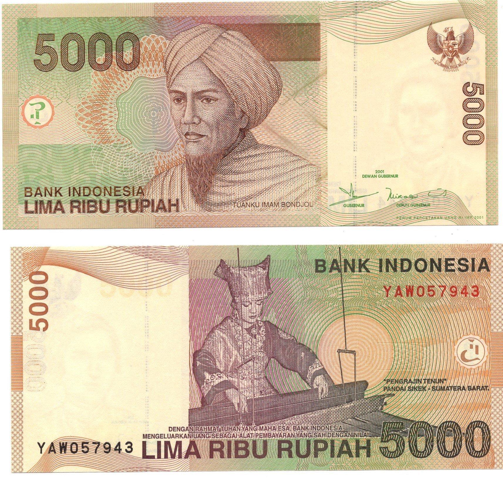 indonesia 5000 rupiah 2001