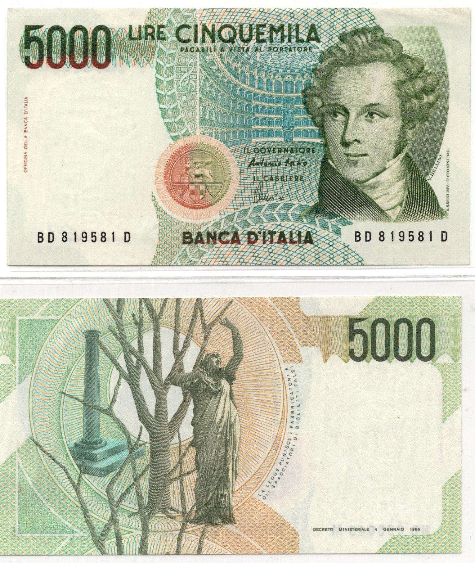 Italy 5000 lire 1985
