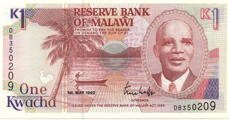 Malawi 1 kwacha 1992 banknote for sale