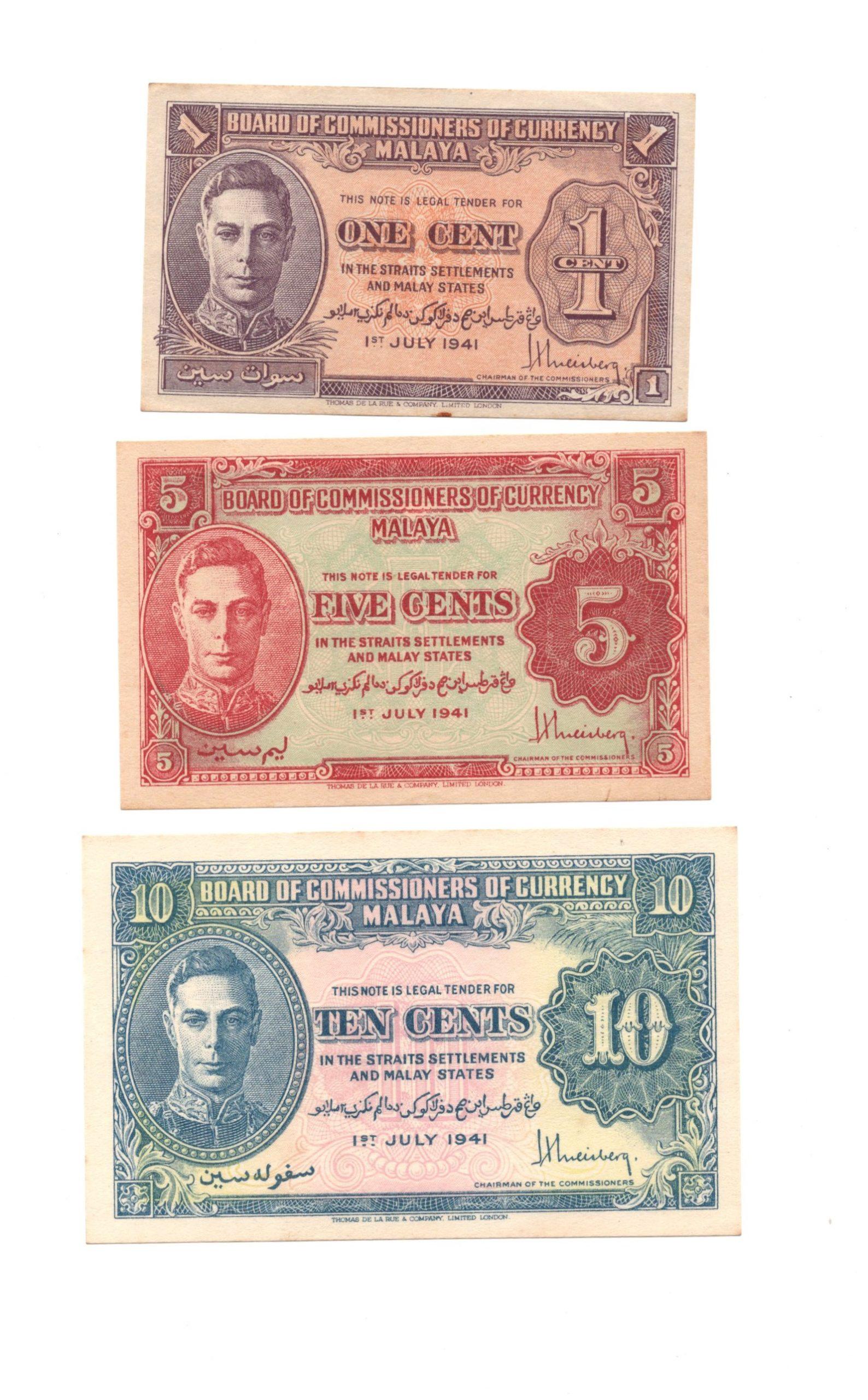 malaya 1 5 10 cents set