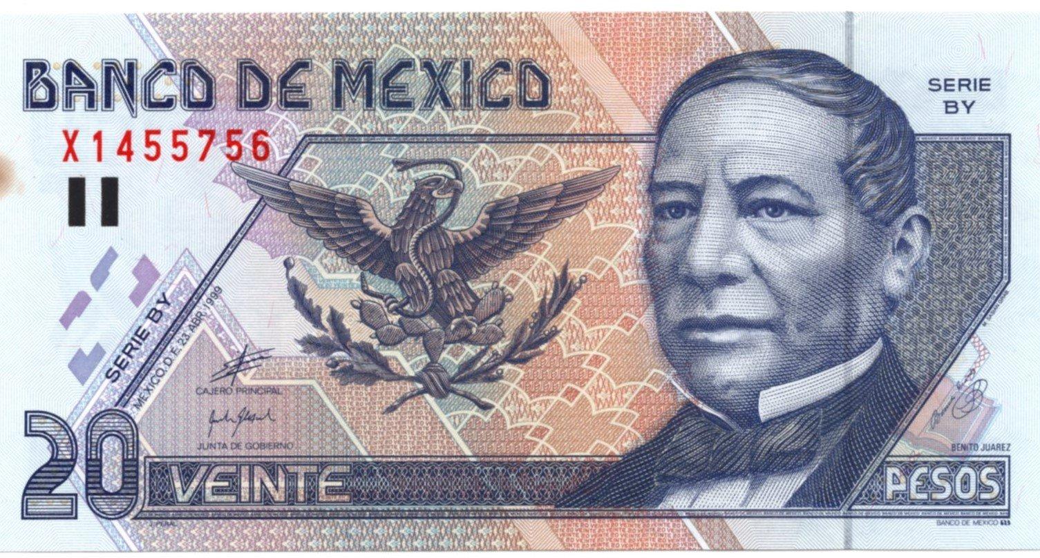 mexico 20 pesos 1999