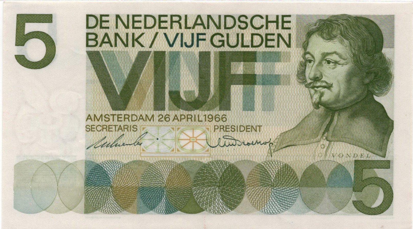 netherlands 5 gulden 1966