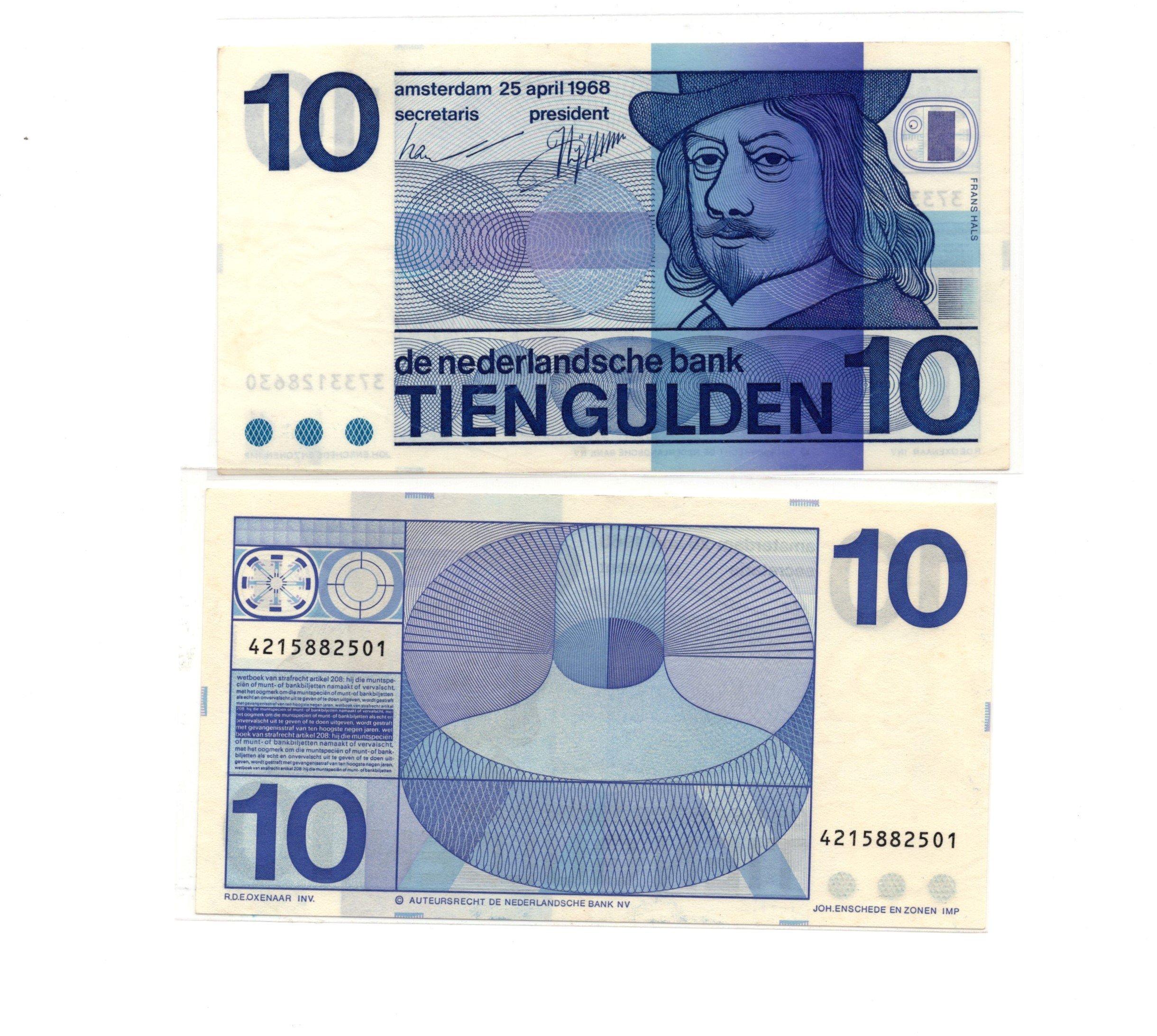 netherlands 10 gulden 1968