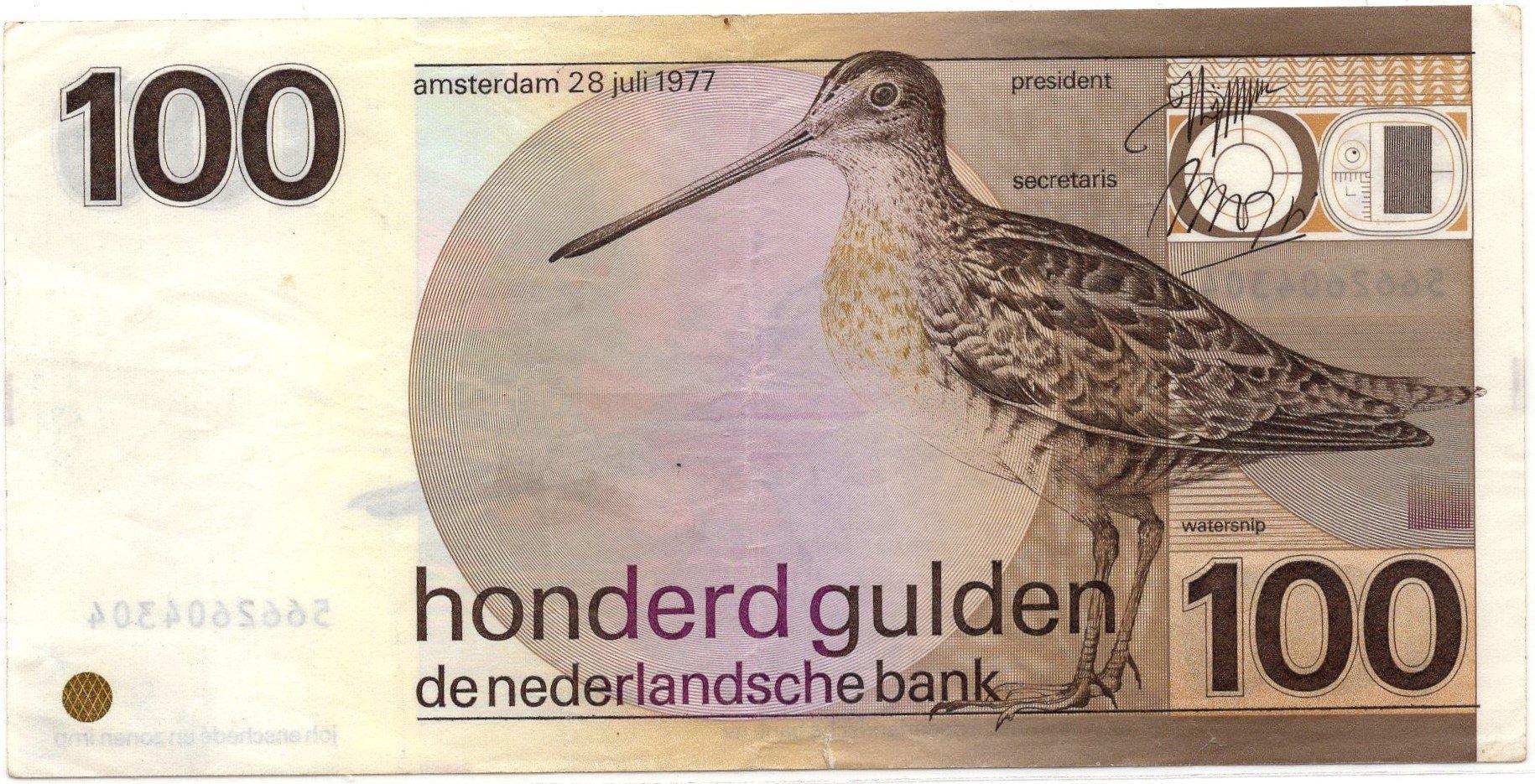 Netherlands 100 gulden 1977 banknote for sale