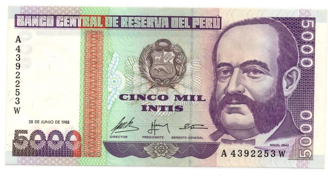 Peru 5000 intis 1988 banknote for sale